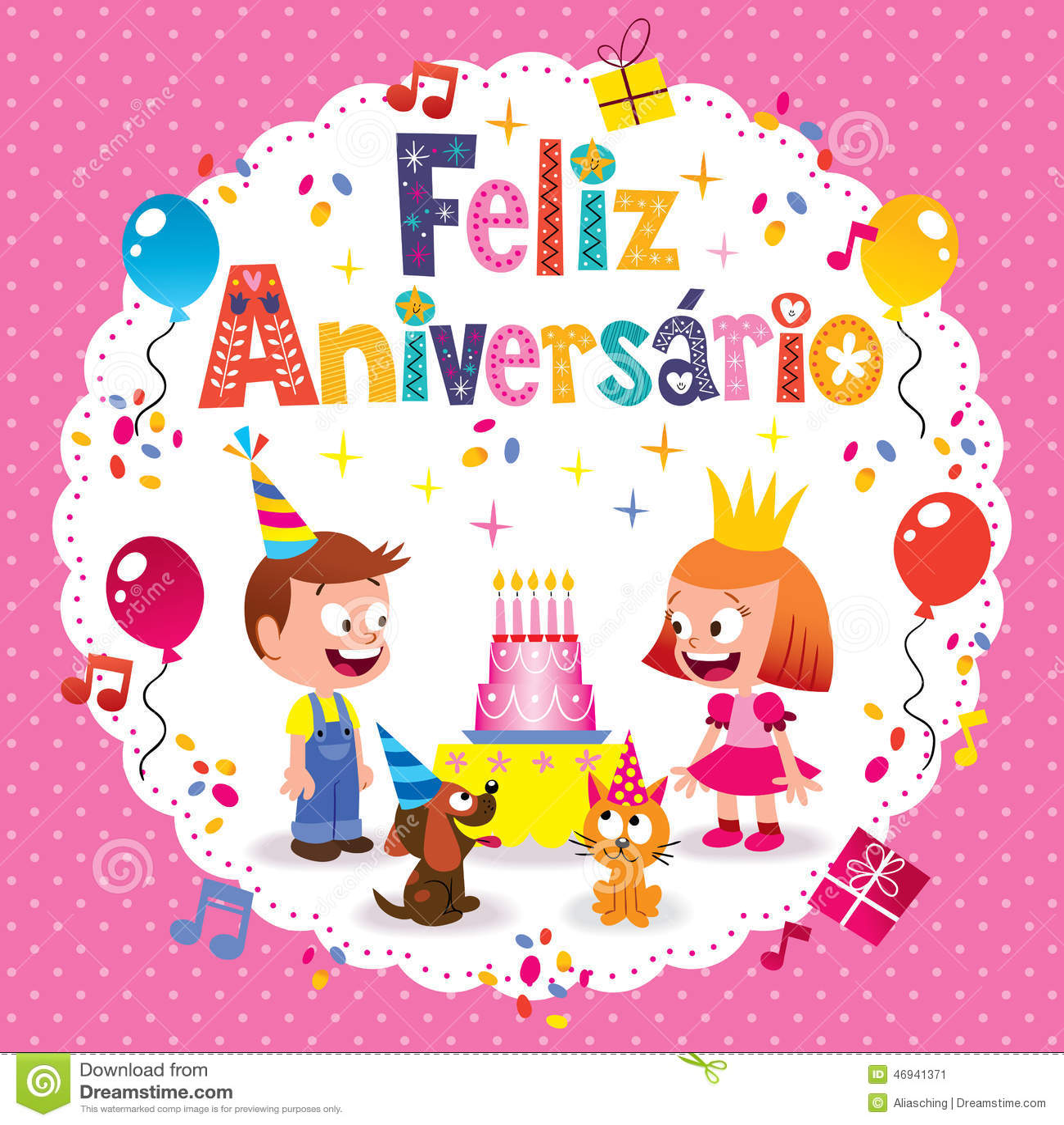 Feliz Aniversario Brazilian Portuguese Happy Birthday Card – Portuguese Birthday Cards
