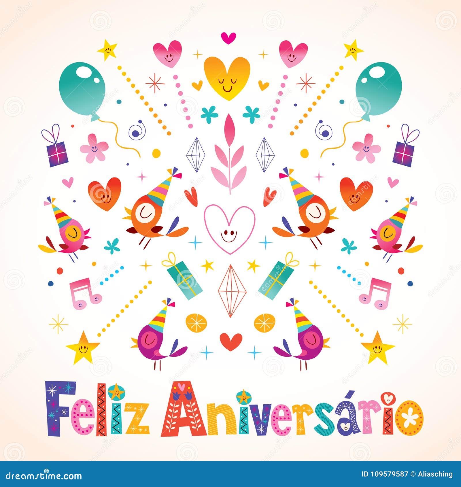 Feliz aniversario brazilian portuguese happy birthday stock vector feliz aniversario brazilian portuguese happy birthday greeting card m4hsunfo