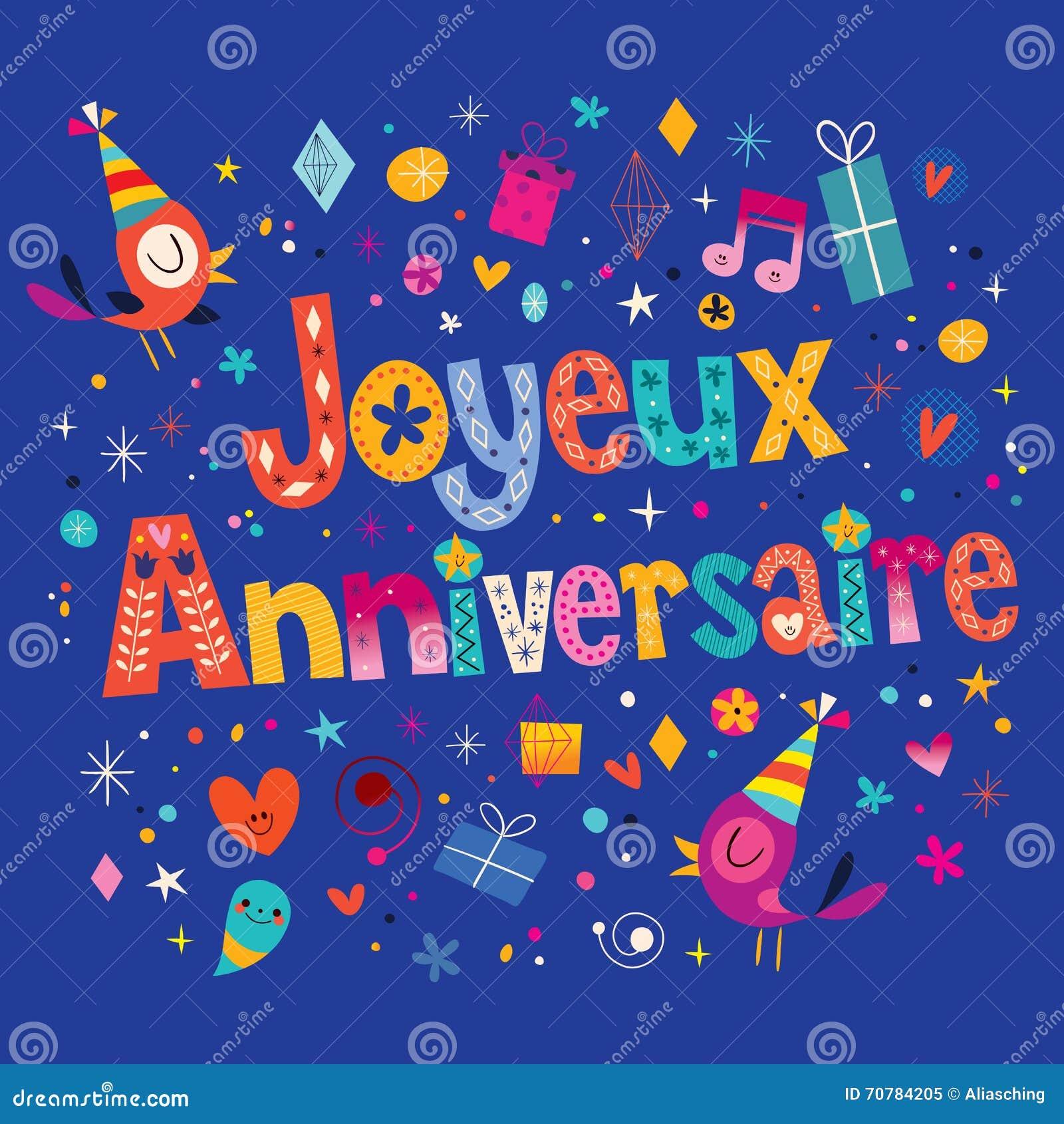 Feliz Aniversario De Joyeux Anniversaire No Cartão Francês