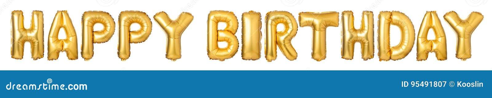 FELIZ ANIVERSARIO de letras de caixa dos balões dourados