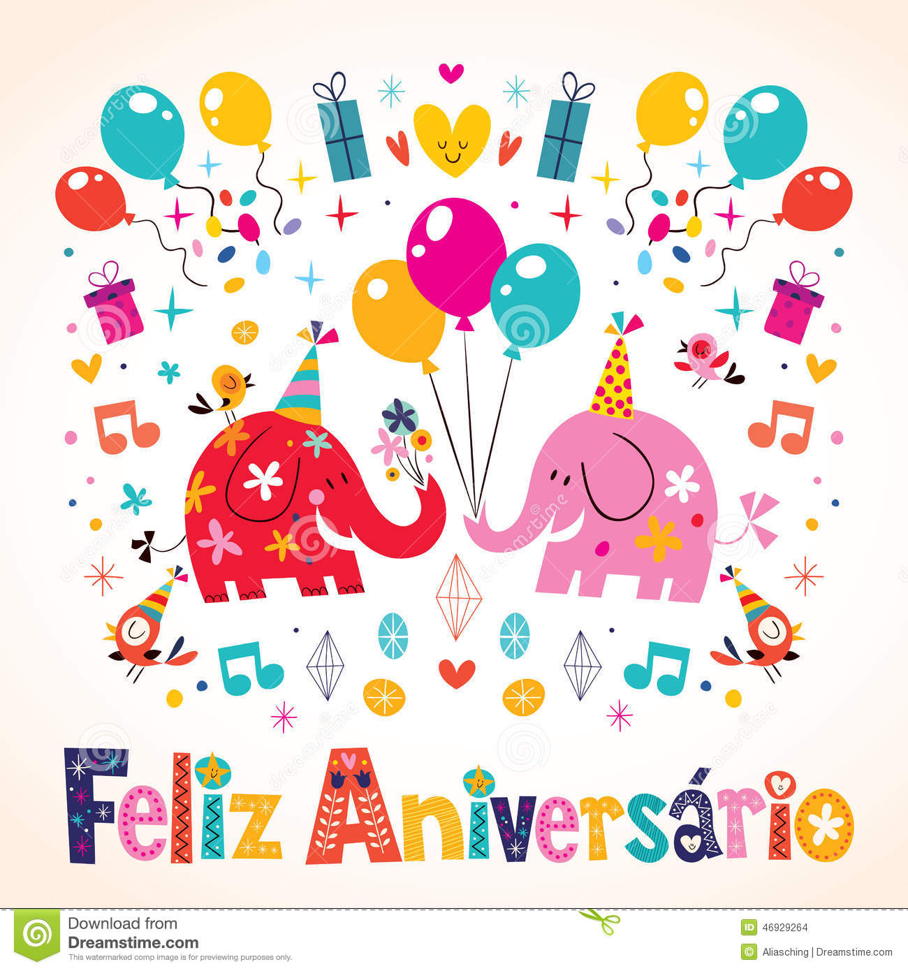 ... Portuguese Happy Birthday Card Stock Vector - Image: 46929264