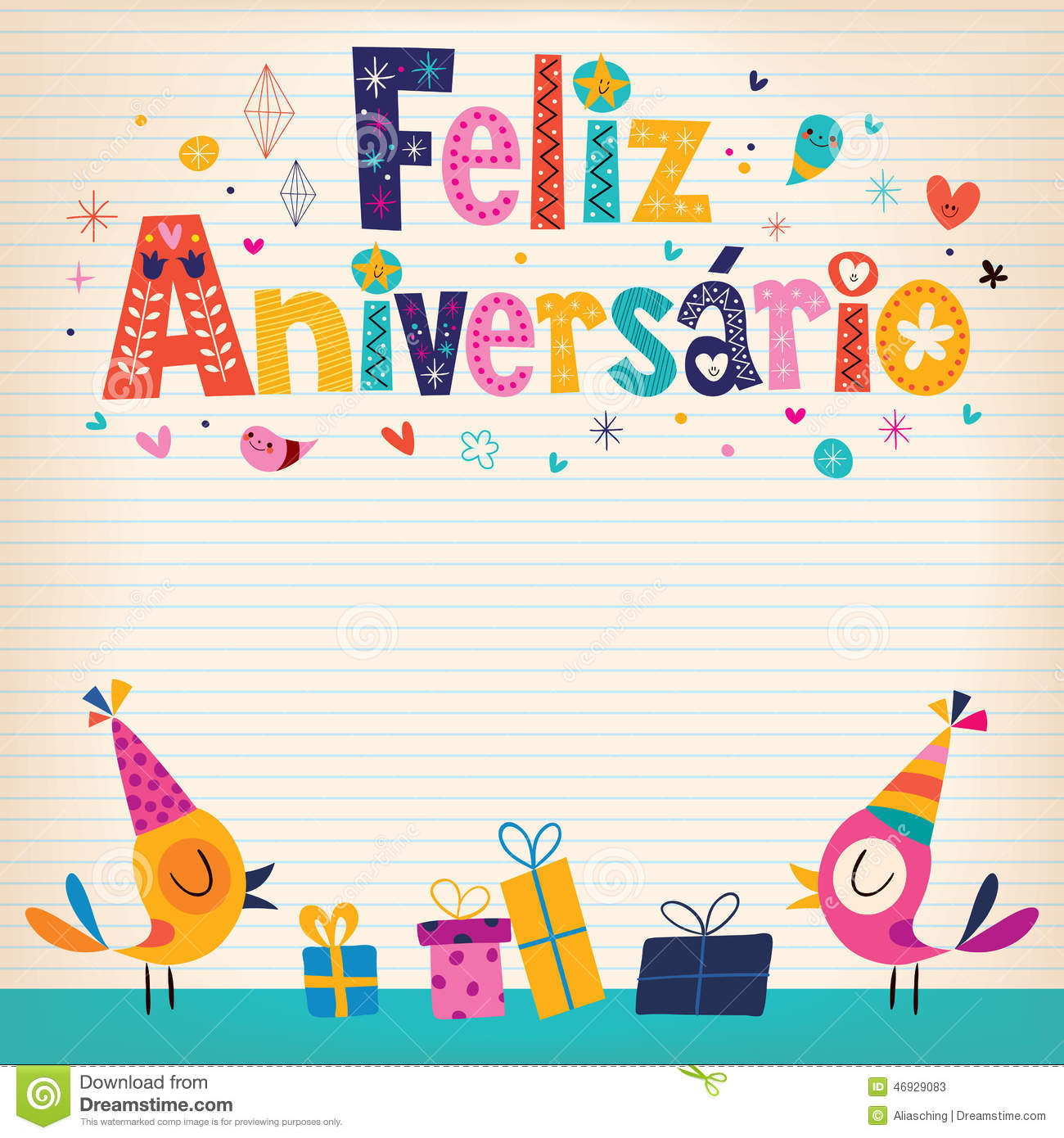 feliz aniversario portuguese happy birthday card retro style decorative lettering cute birds 46929083
