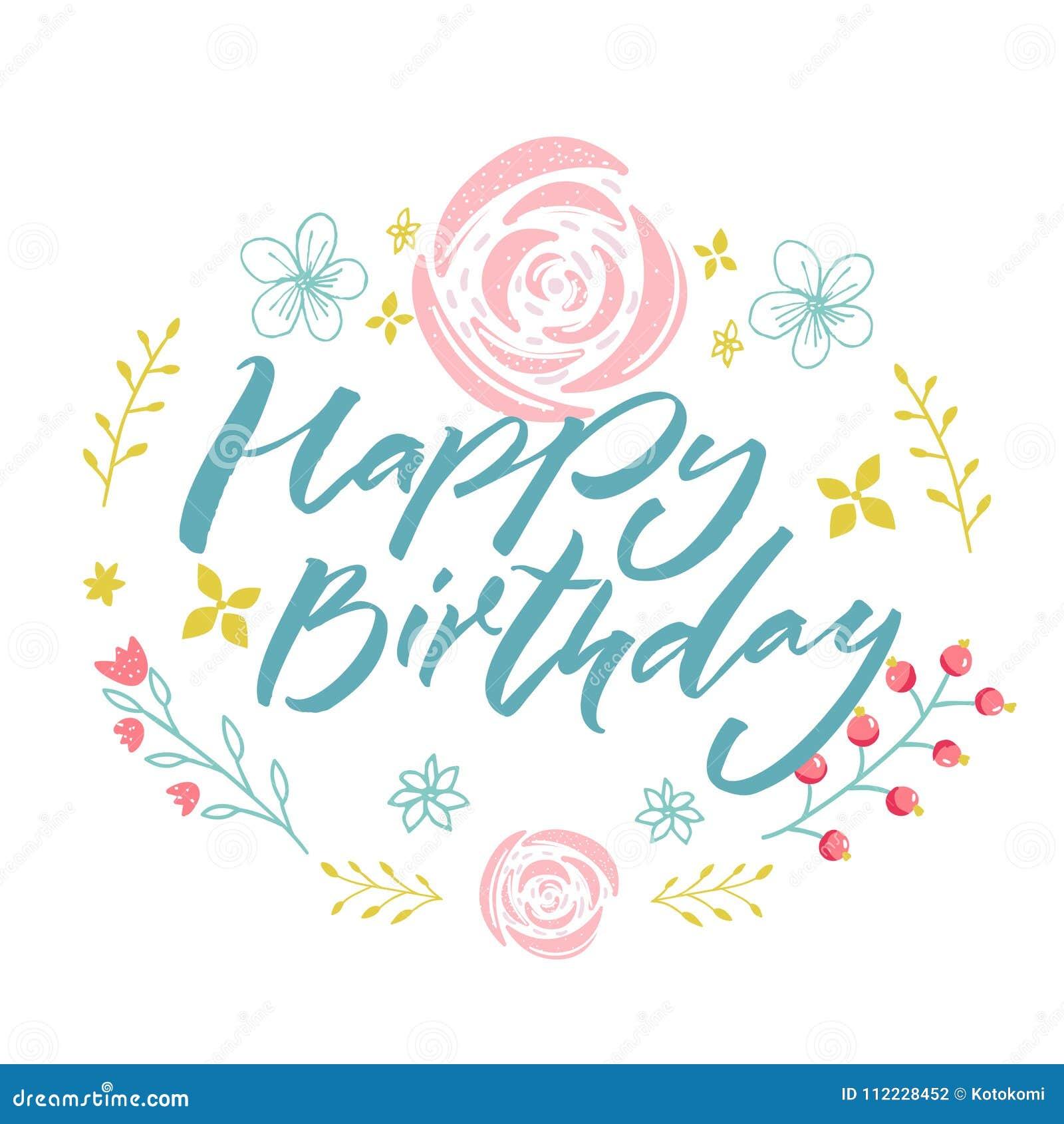 Feliz aniversario - texto azul na grinalda floral com flores e ramos cor-de- 8ff6df9ce9e5f