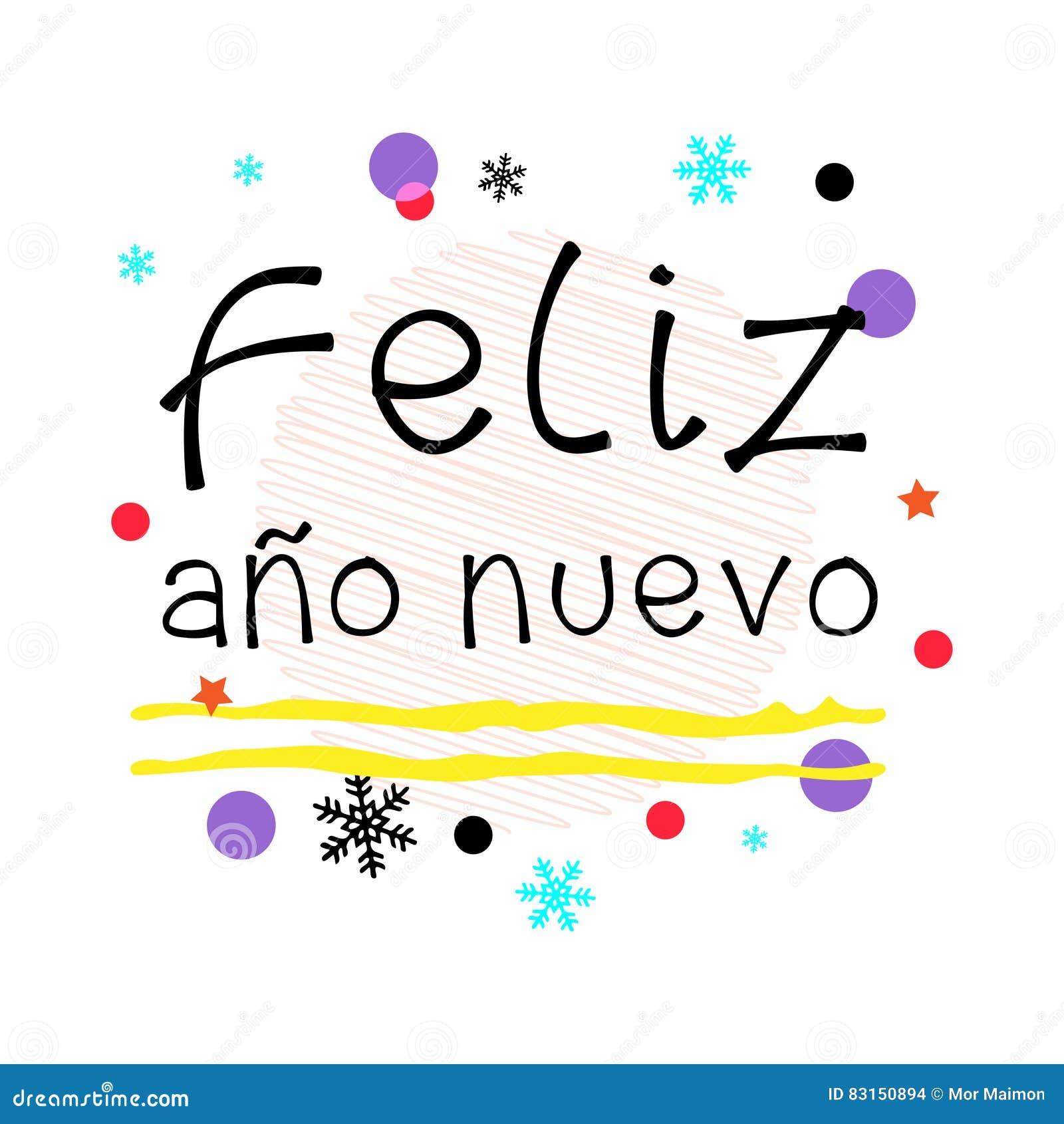Feliz Ano Nuevo. Happy New Year Spanish Greeting. Black Typographic ...