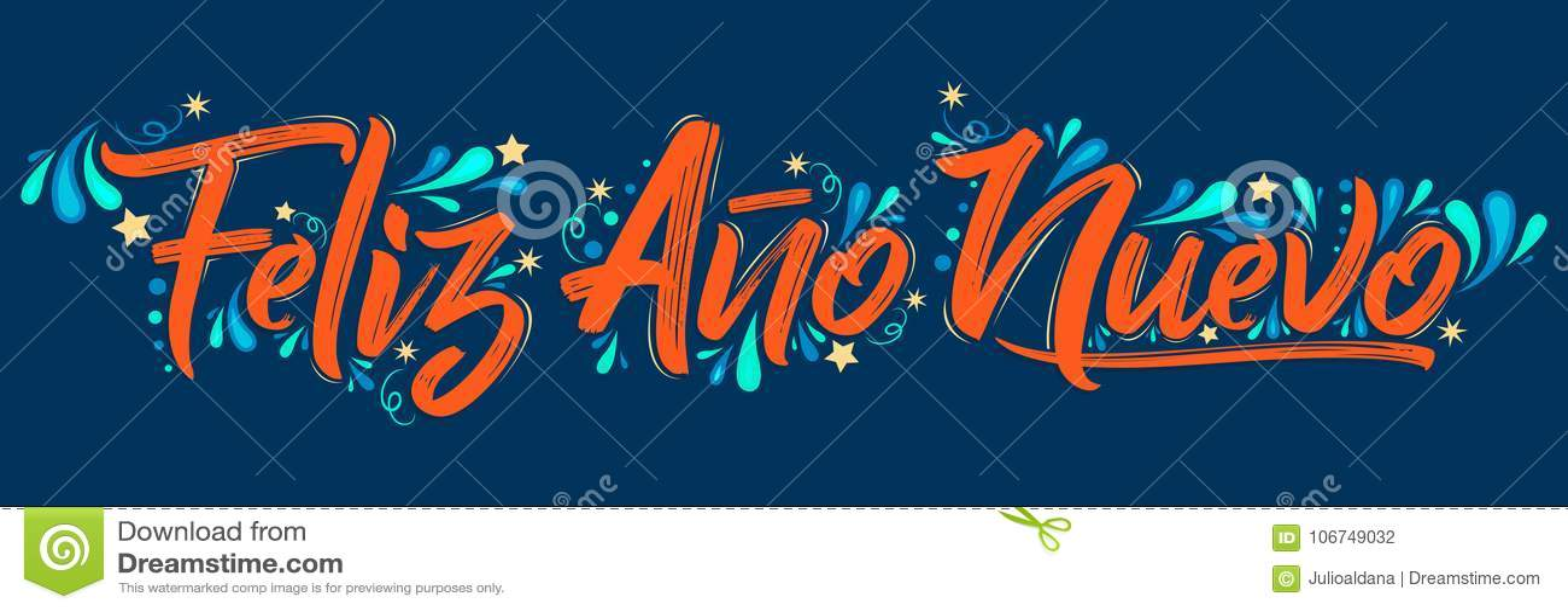 Feliz Ano Nuevo, Happy New Year Spanish Text Holiday Lettering ...
