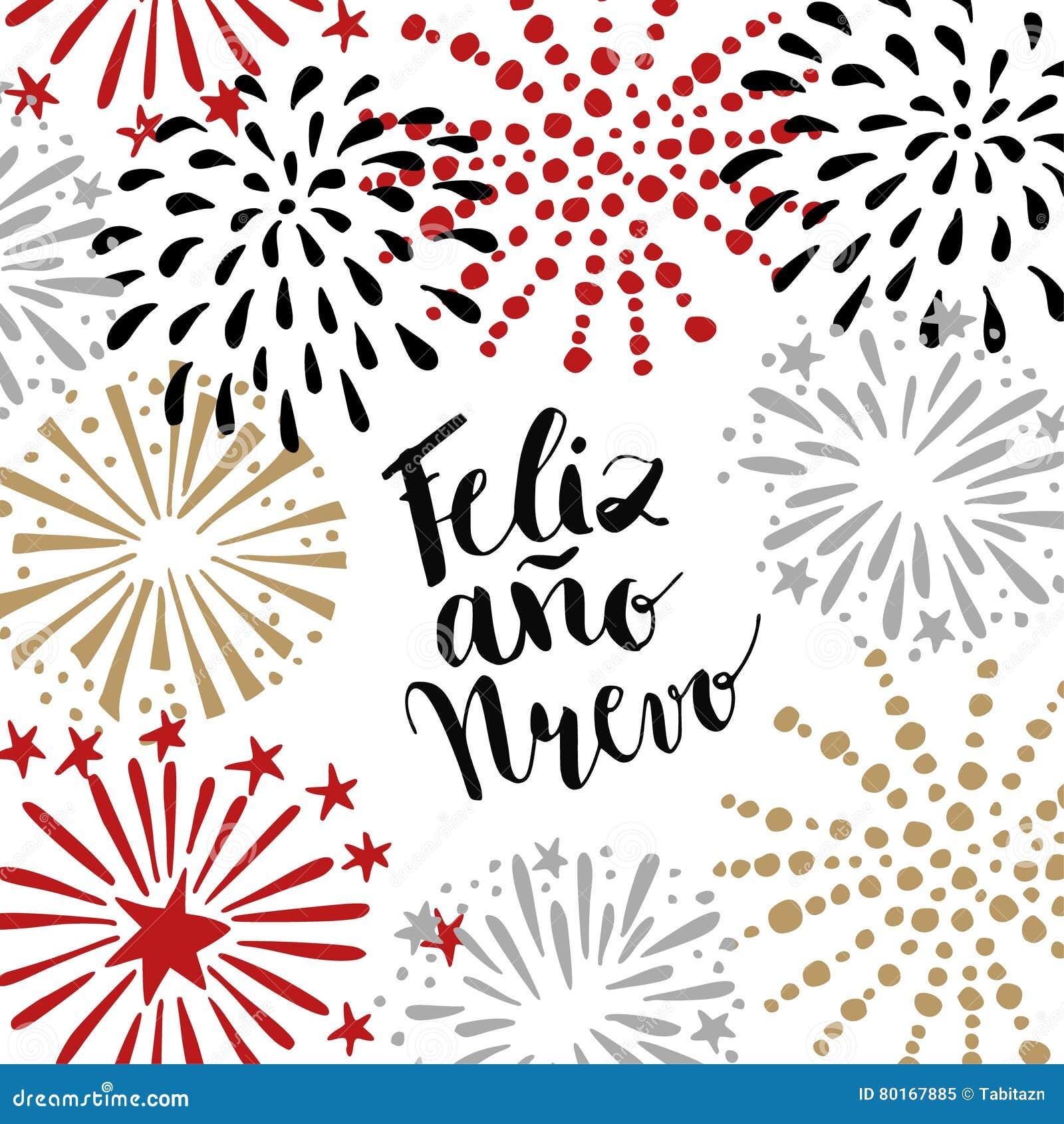 Feliz ano nuevo spanish happy new year greeting card with download feliz ano nuevo spanish happy new year greeting card with handwritten text and hand m4hsunfo