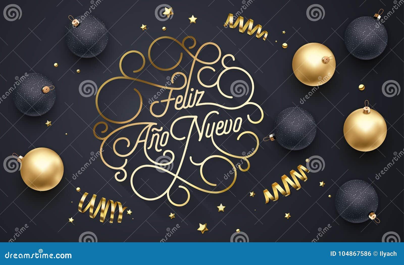 Feliz Ano Nuevo Spanish Happy New Year Navidad bloeit het gouden kalligrafie van letters voorzien van de kaartontwerp van de swas