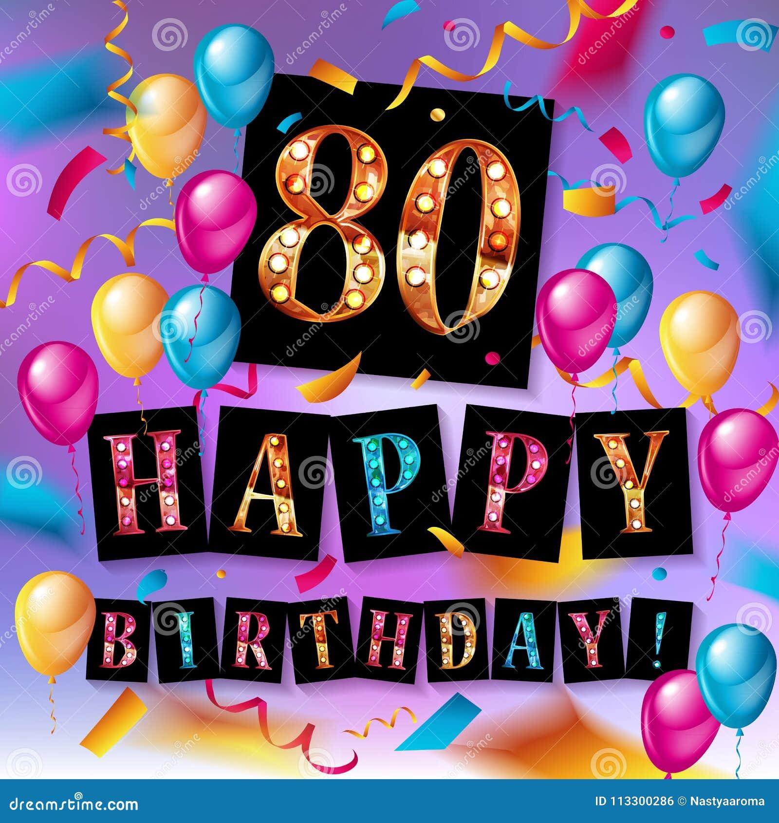 Feliz Cumpleaños 80 Años De Aniversario Stock De Ilustración