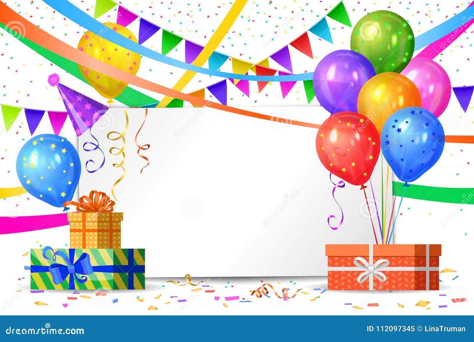 Feliz Cumpleaños Balones De Aire Cajas De Regalos Banderas
