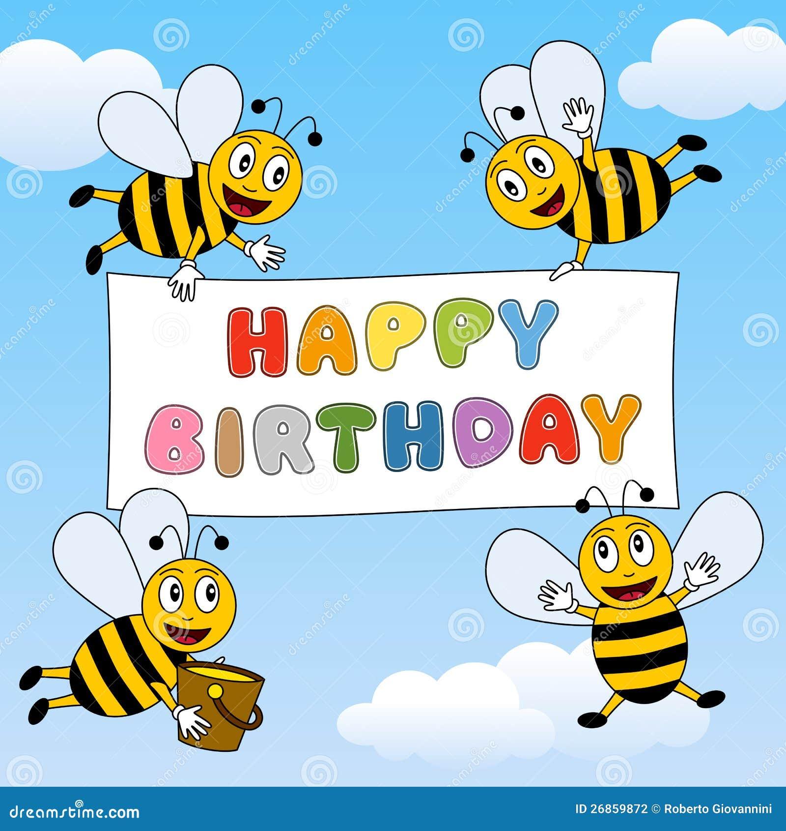 Feliz cumpleaños de las abejas divertidas