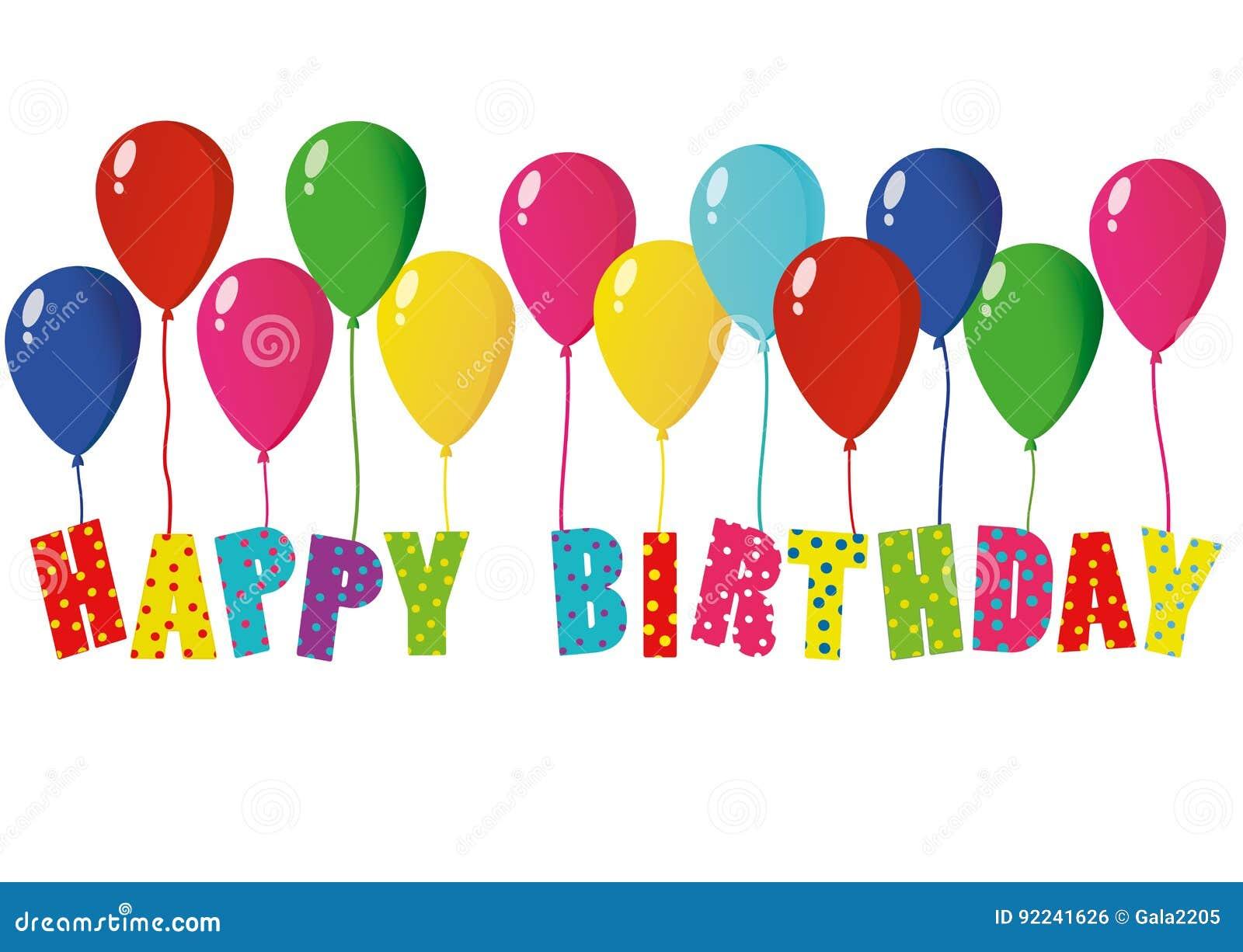 Feliz cumpleaños de las letras coloridas en los globos Tarjeta de felicitación