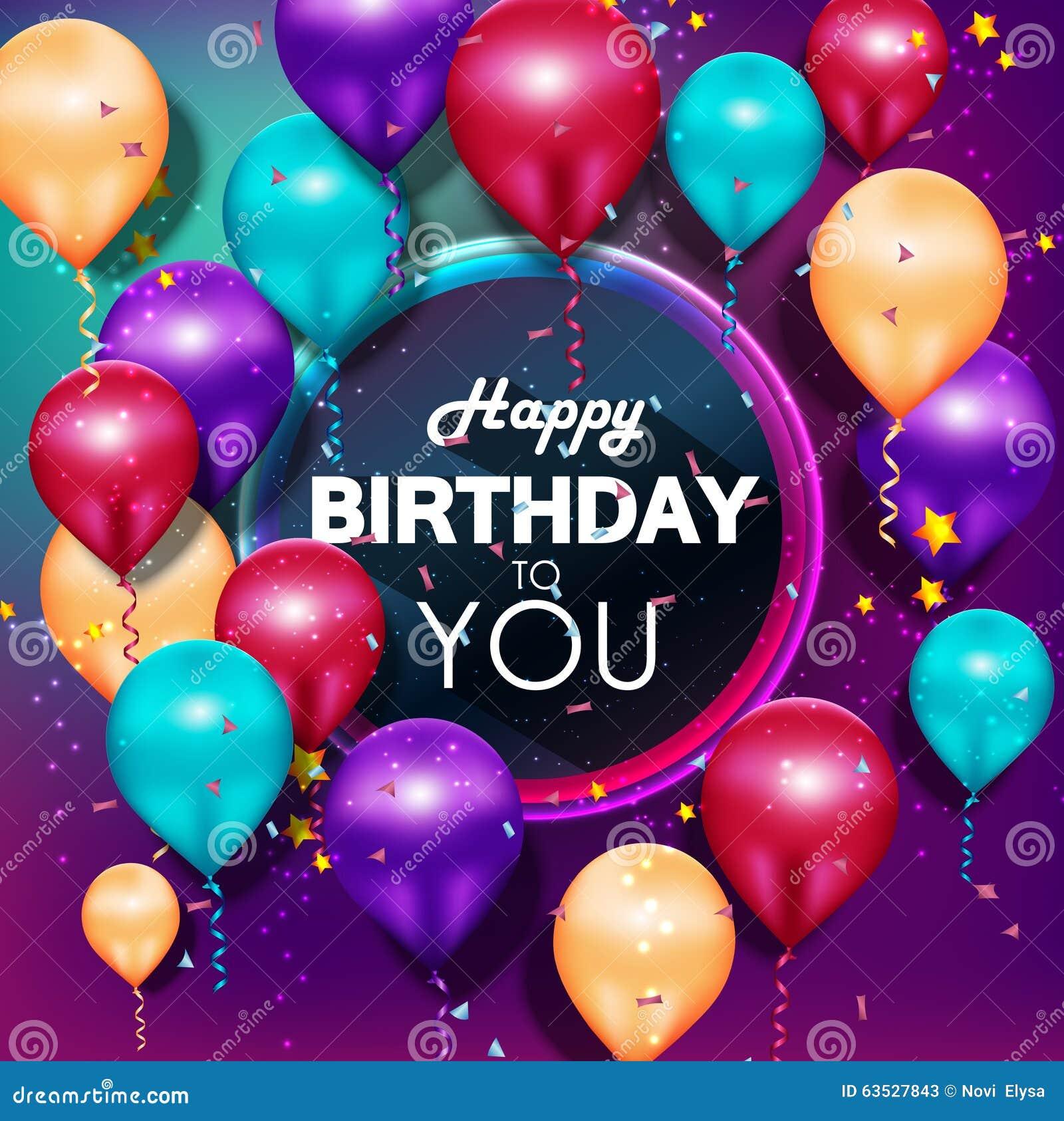 Feliz cumpleaños de los globos coloridos en fondo púrpura