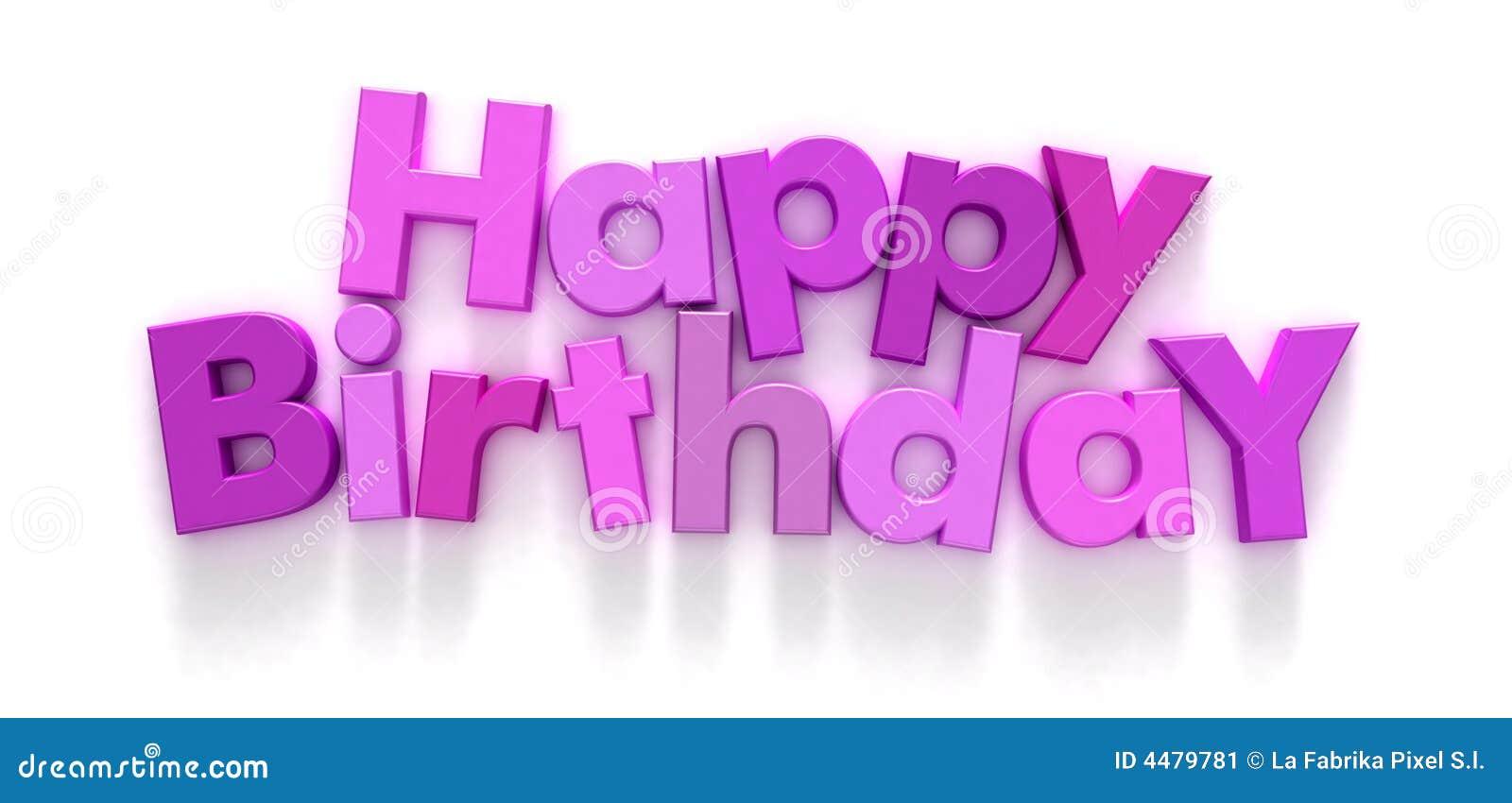 Feliz cumpleaños en cartas rosadas y púrpuras
