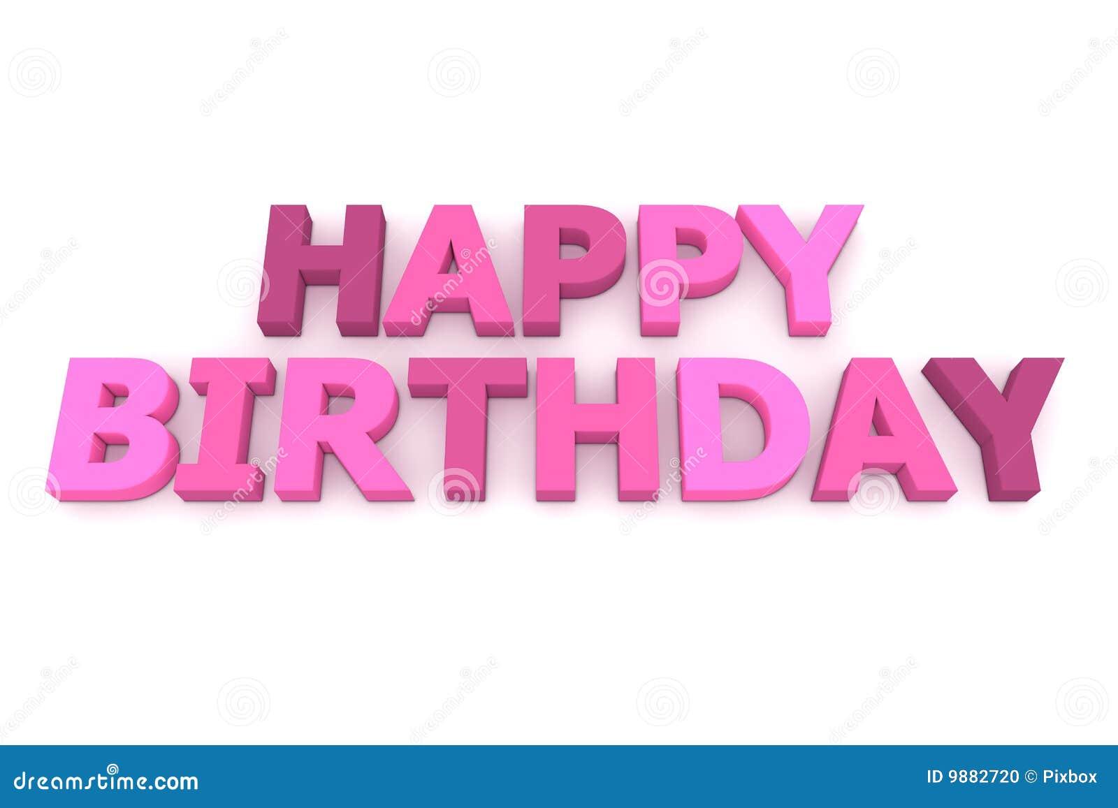 Feliz Cumpleaños En Púrpura Y Color De Rosa Stock de ilustración ...