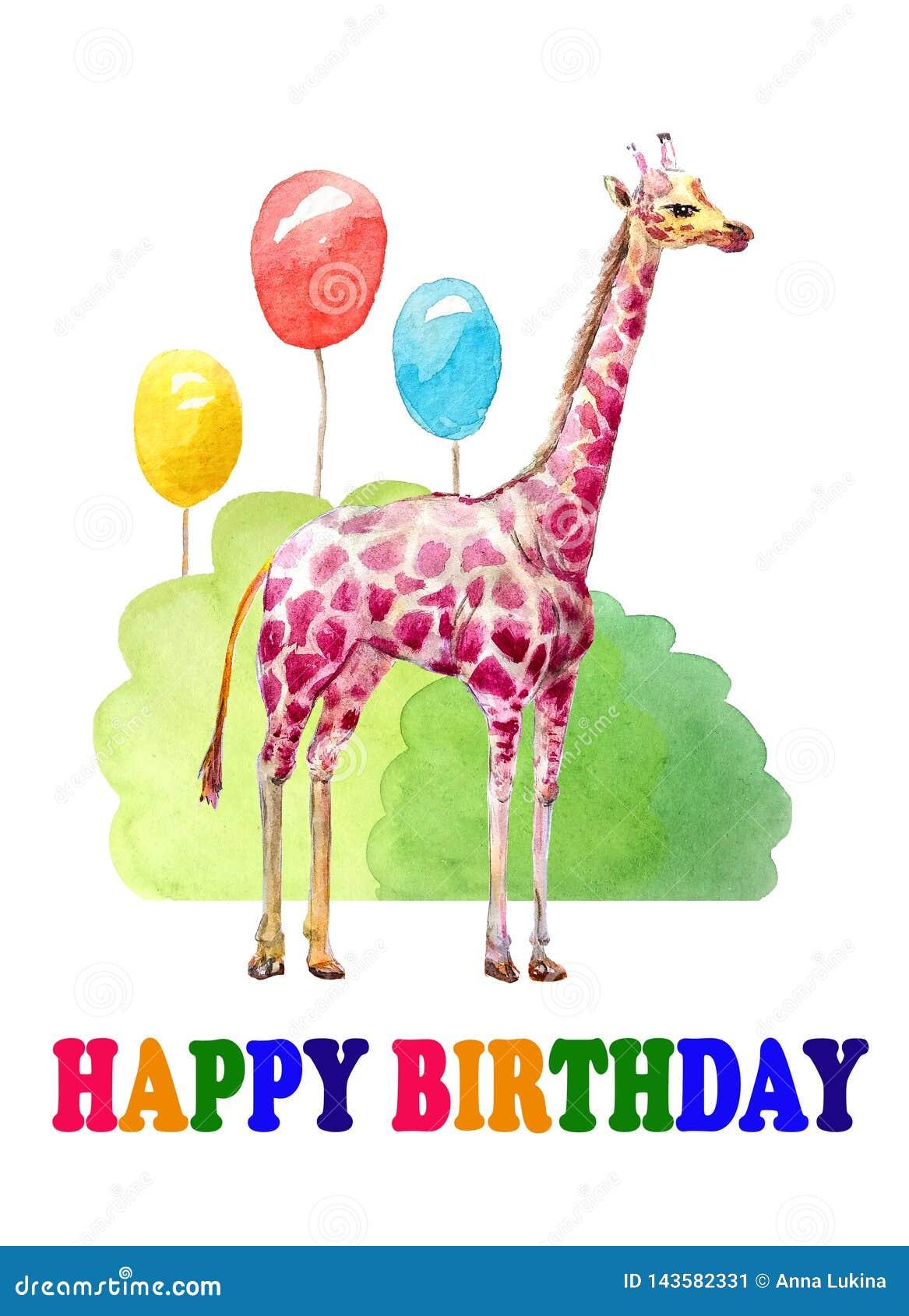 Feliz cumpleaños Enhorabuena de la jirafa del color en el día de fiesta Tres bolas coloridas, arbustos watercolor
