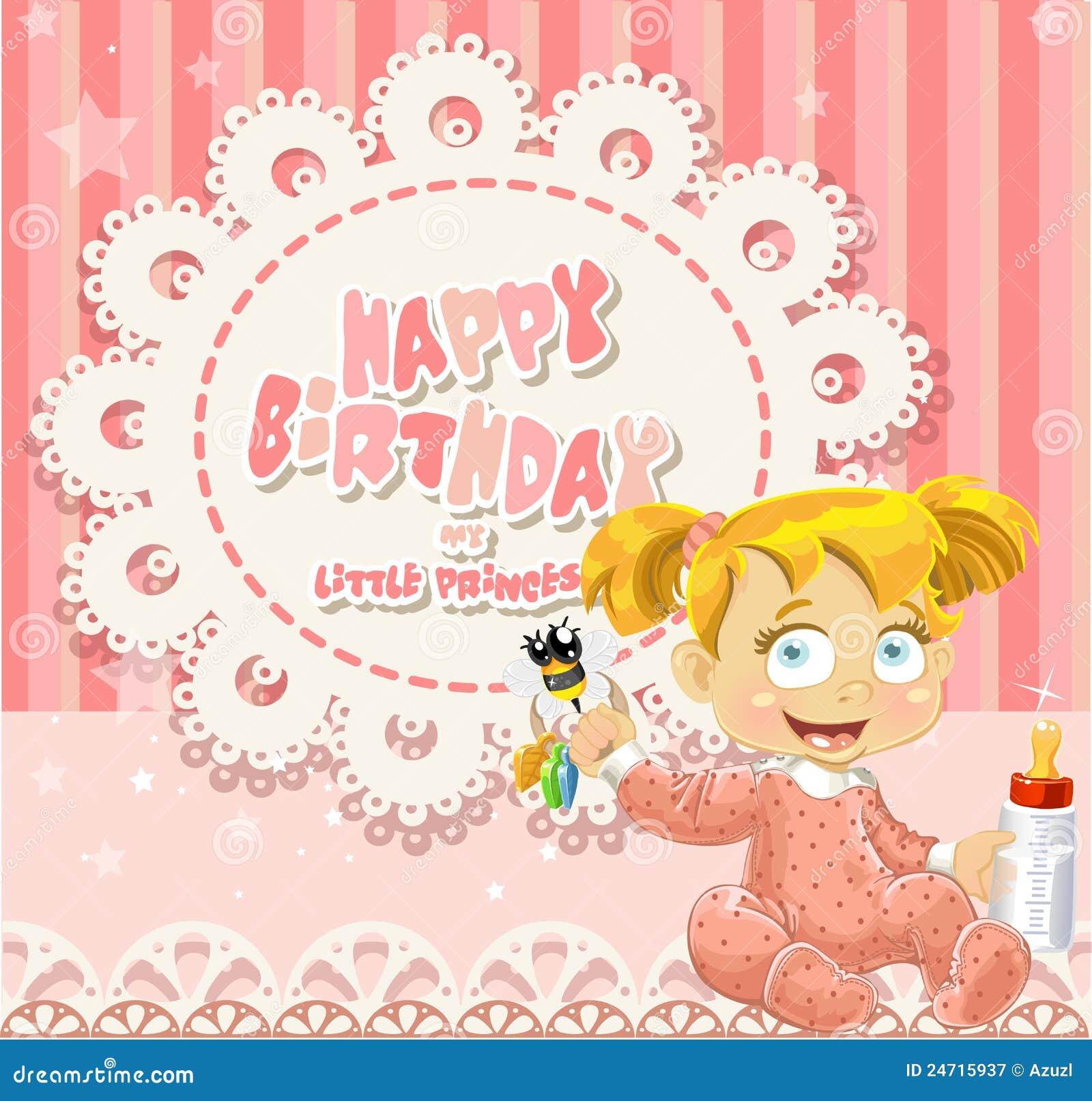 Feliz Cumpleaños Mi Pequeña Princesa Bebé Ilustración Del Vector