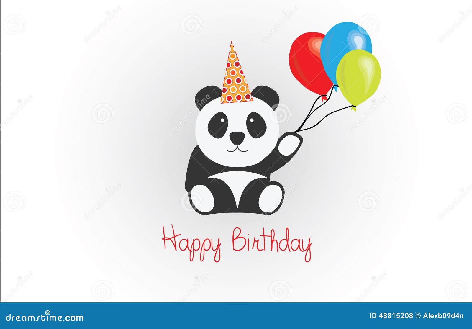 Feliz Cumpleaños Panda Vector Ilustraciones Stock