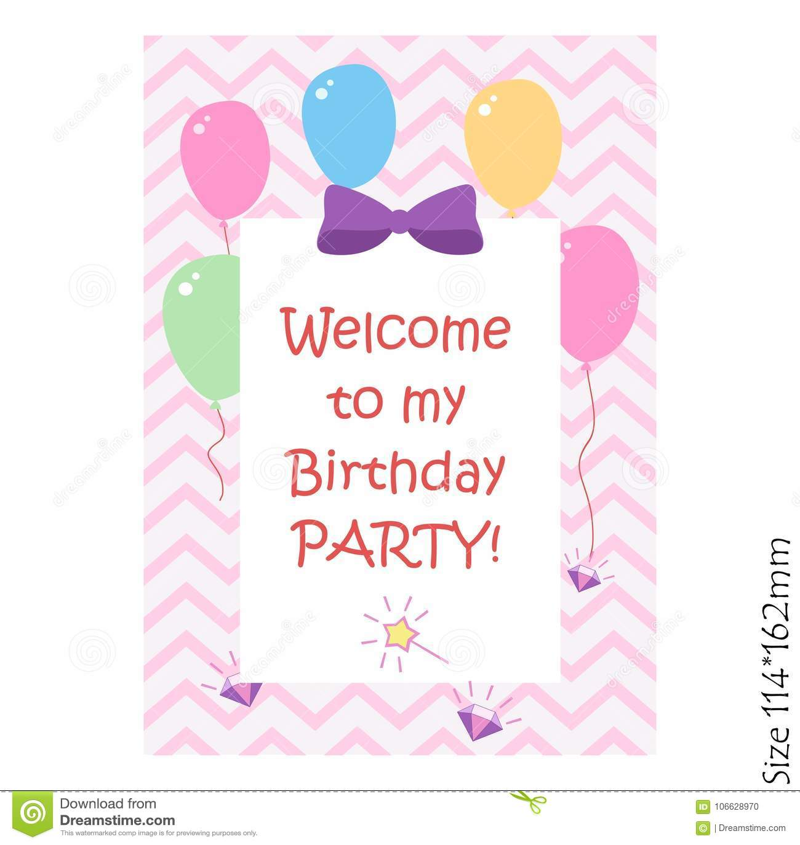 Feliz cumpleaños, partido de la celebración de la invitación Una inscripción mágica en un fondo rosado con los globos Alegría, fe
