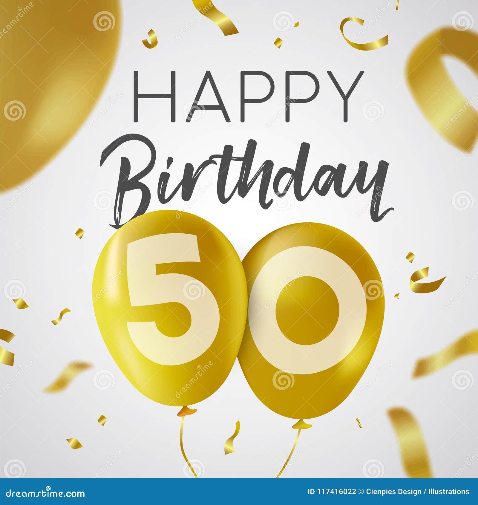Feliz Cumpleaños 50 Tarjeta Del Globo Del Oro De Cincuenta