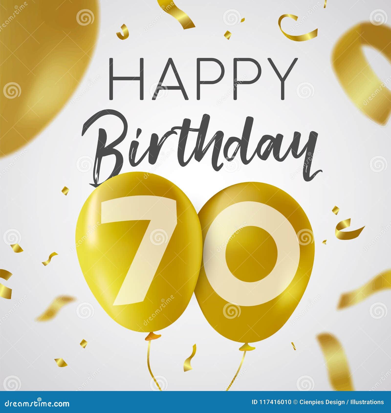 Feliz Cumpleaños 70 Tarjeta Del Globo Del Oro De Setenta