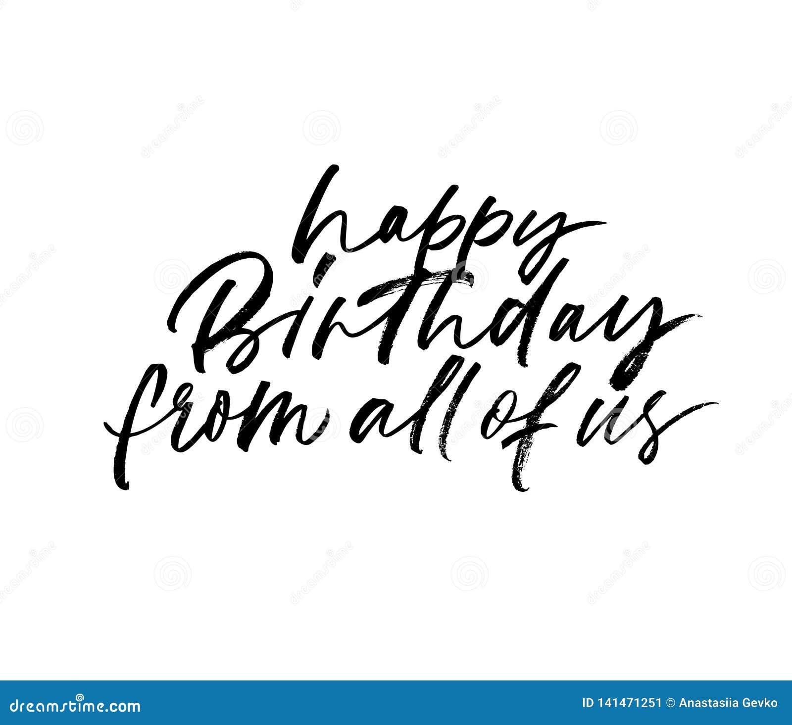 Feliz cumpleaños todos nosotros letras exhaustas de la mano Ejemplo dibujado mano de la tinta