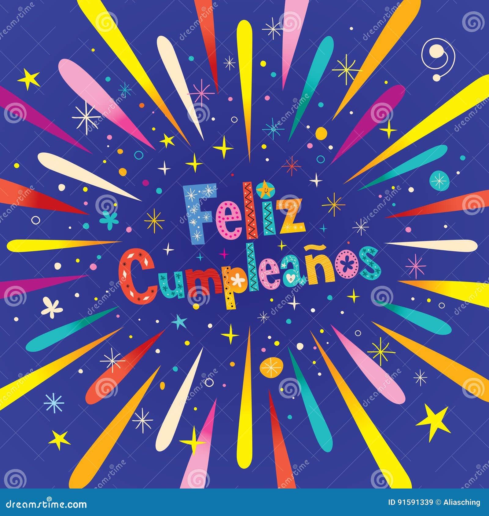 Feliz Cumpleanos   Buon Compleanno Nella Cartolina D'auguri