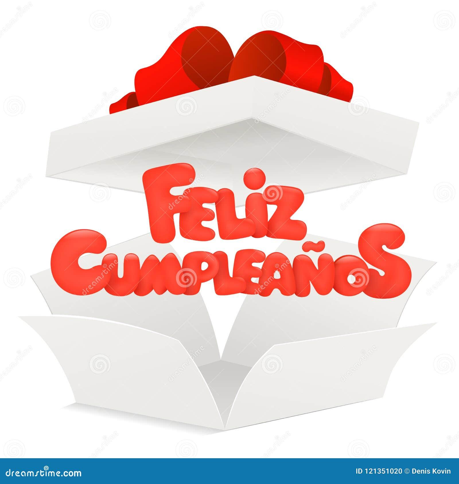 Feliz Cumpleanos - feliz cumpleaños en tarjeta de felicitación española con la caja abierta
