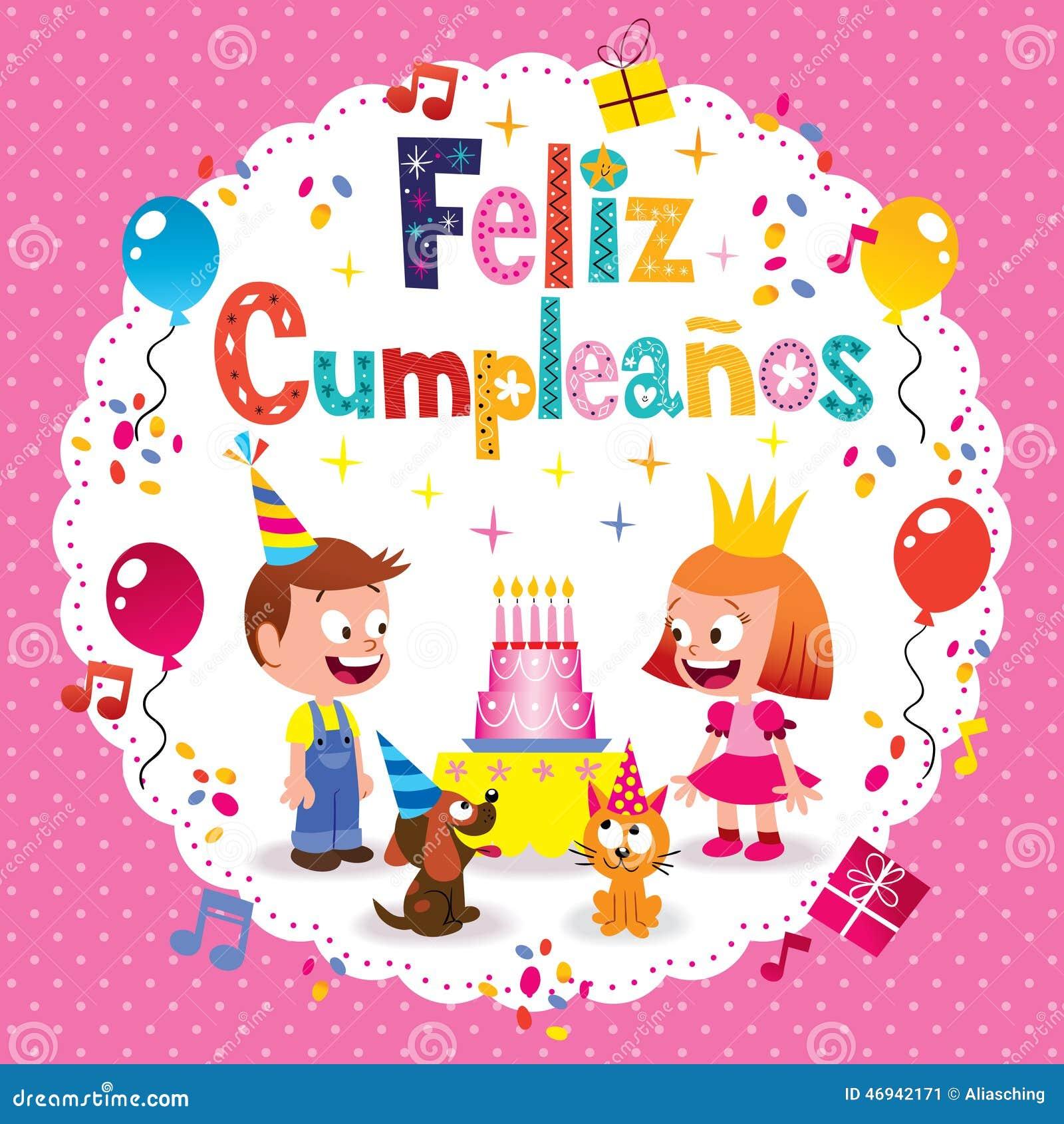 Feliz Cumpleanos Feliz Cumpleanos En Texto Espanol Ilustracion Del