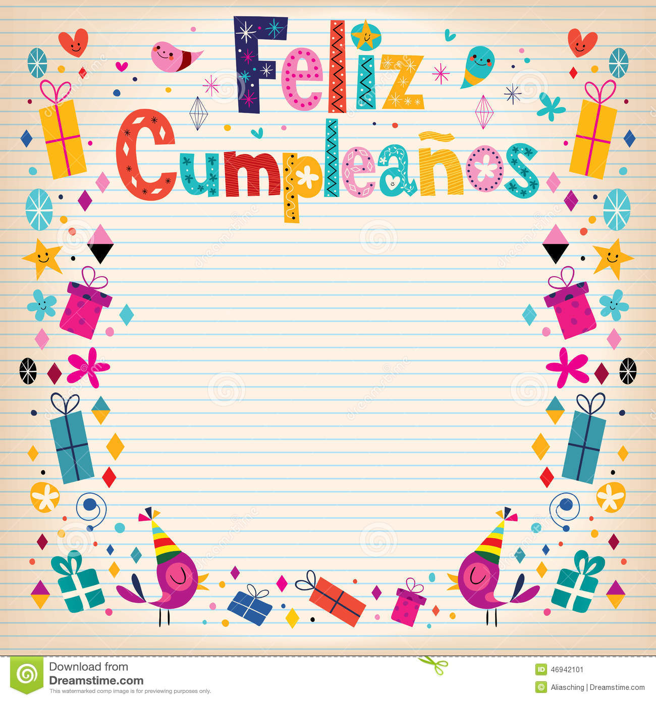 feliz cumpleanos  happy birthday in spanish border lined paper, Birthday card