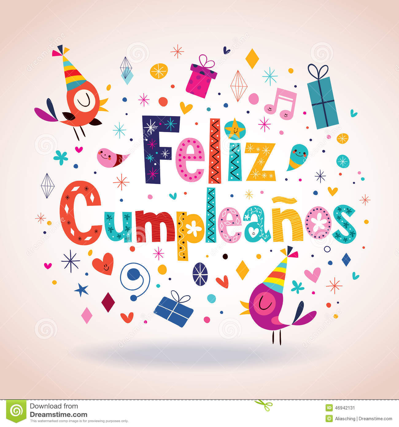 Feliz Cumpleanos Happy Birthday In Spanish Card Stock Vector