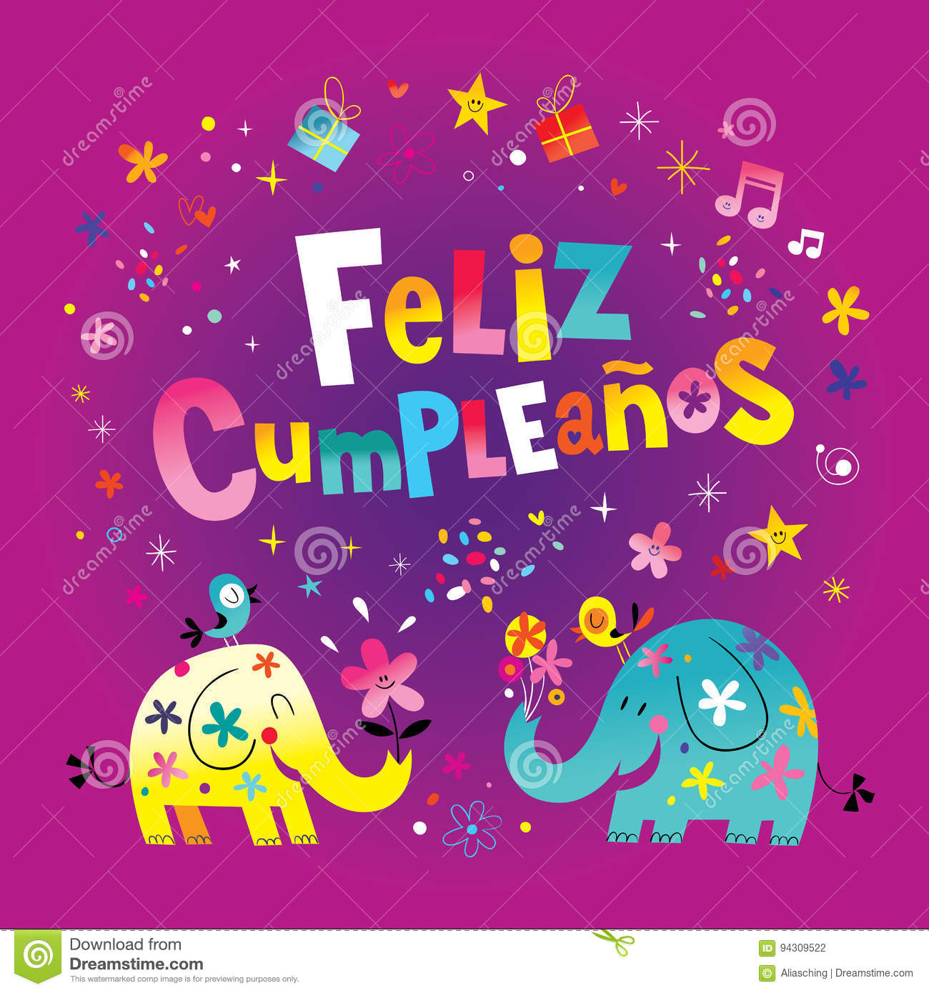 Feliz Cumpleanos Happy Birthday In Spanish Card Cartoon Vector