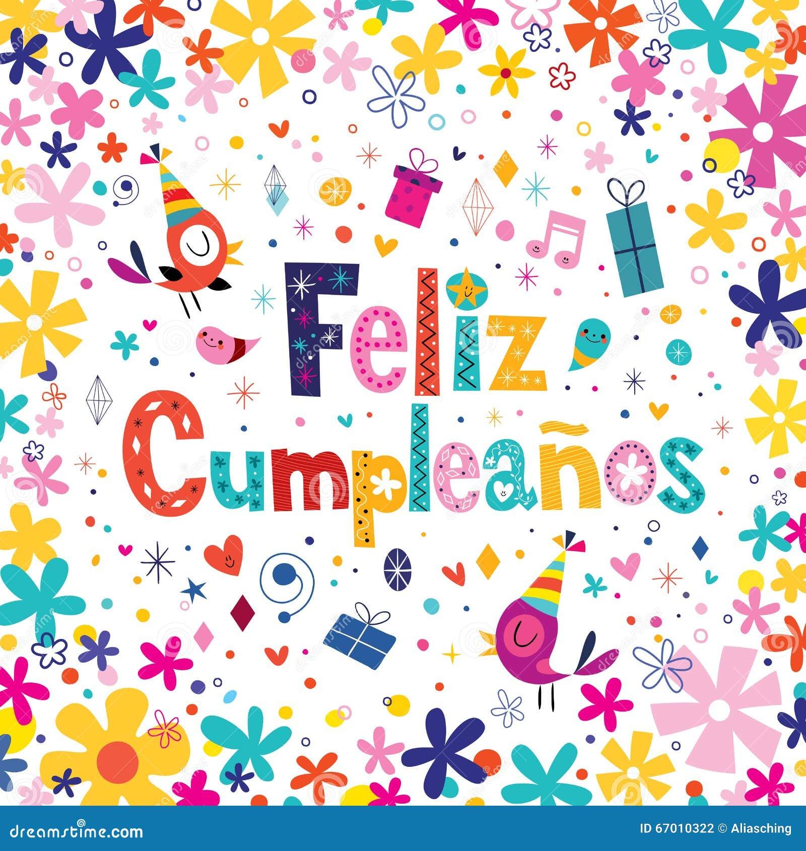Feliz Cumpleanos Happy Birthday In Spanish Greeting Card Stock Vector Image 67010322