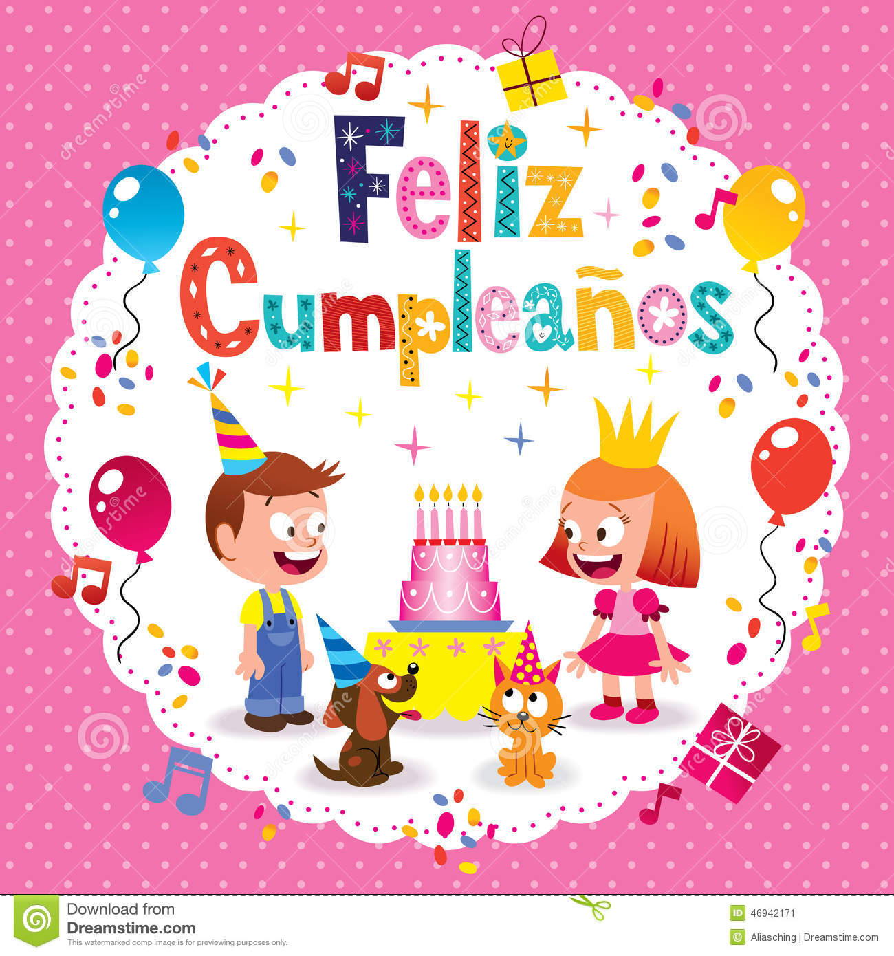feliz cumpleanos  happy birthday in spanish greeting card stock, Birthday card