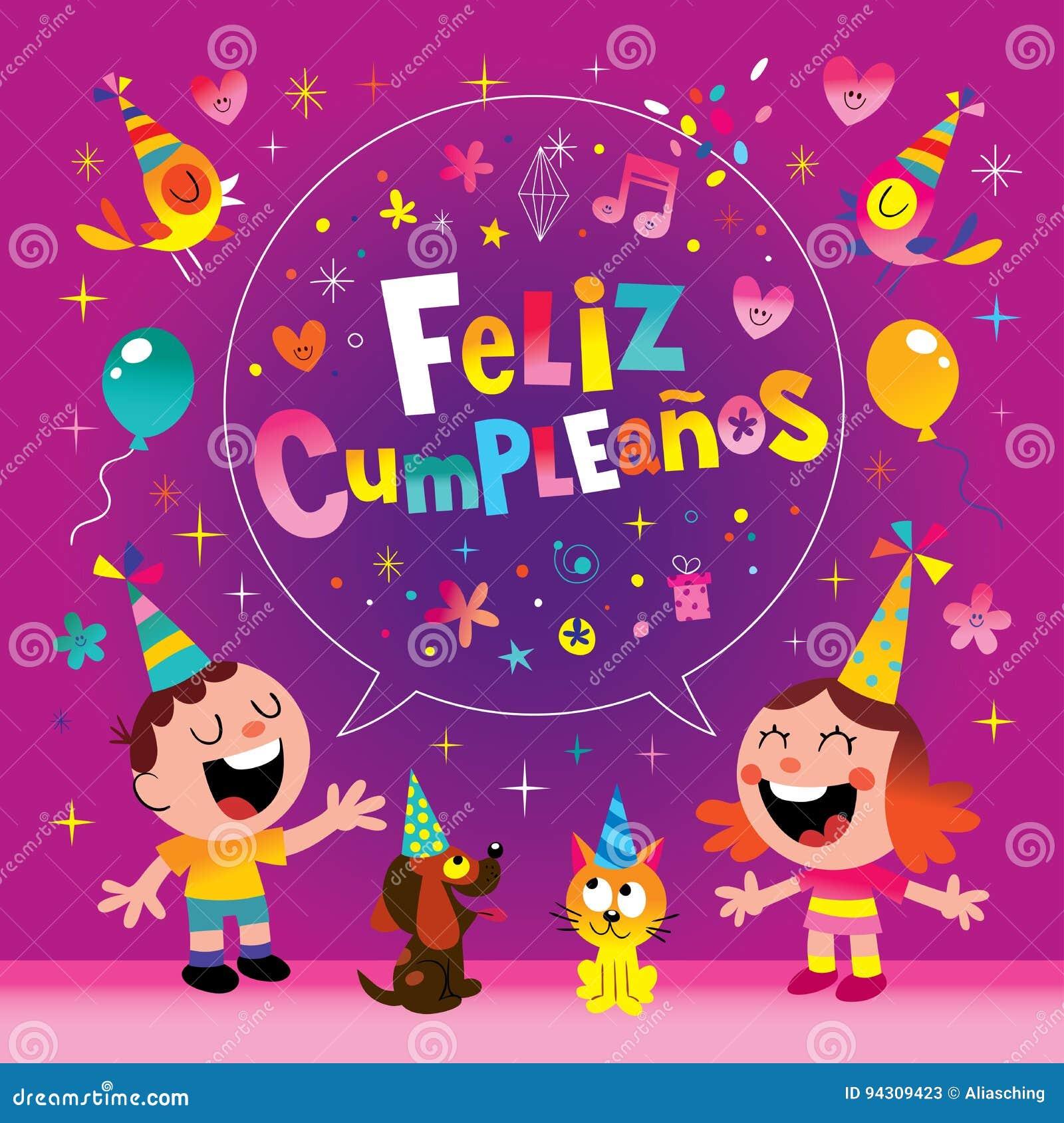 Feliz Cumpleanos Happy Birthday In Spanish Kids Stock Vector