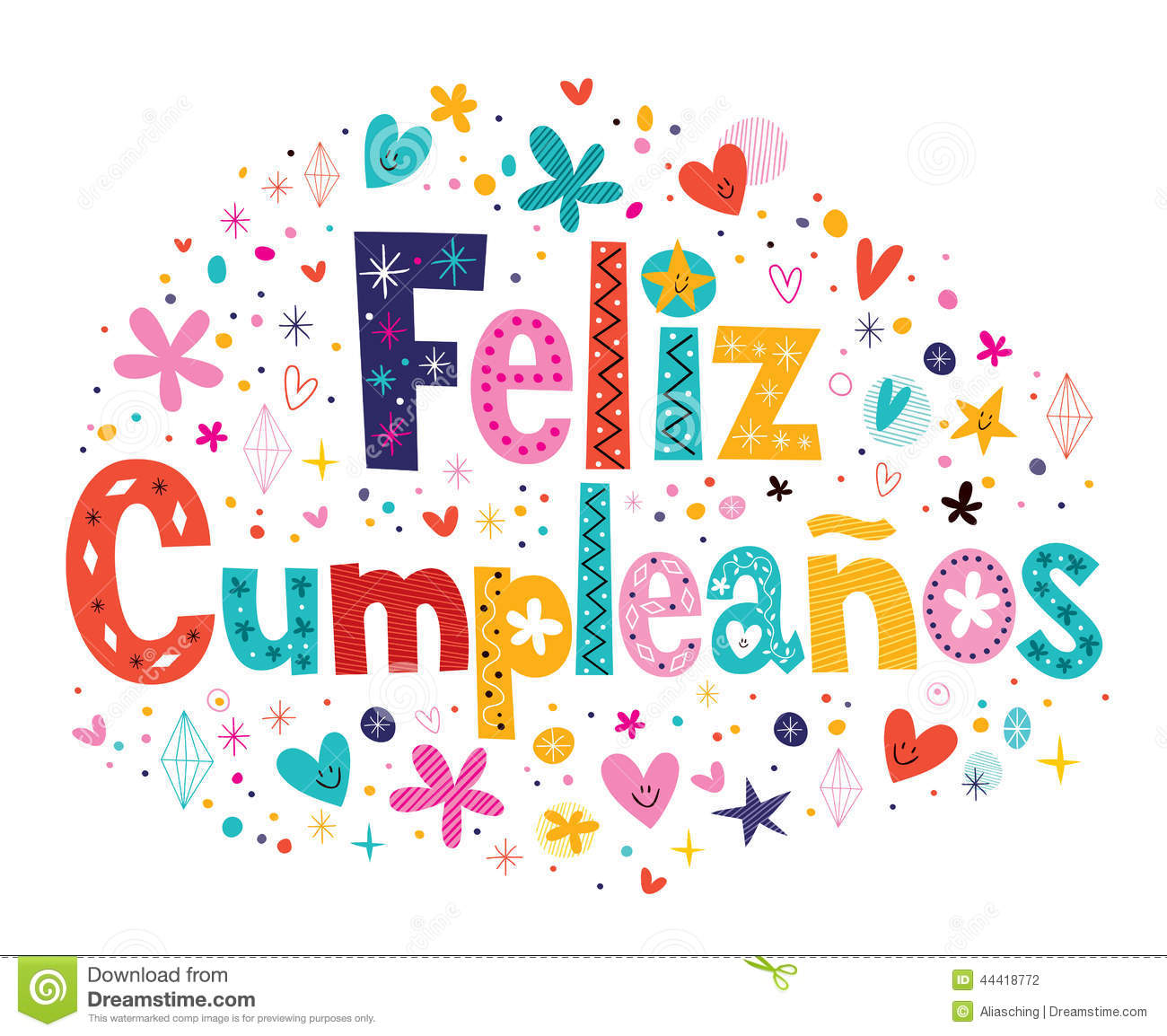 Feliz Cumpleanos Happy Birthday In Spanish Text Stock Vector