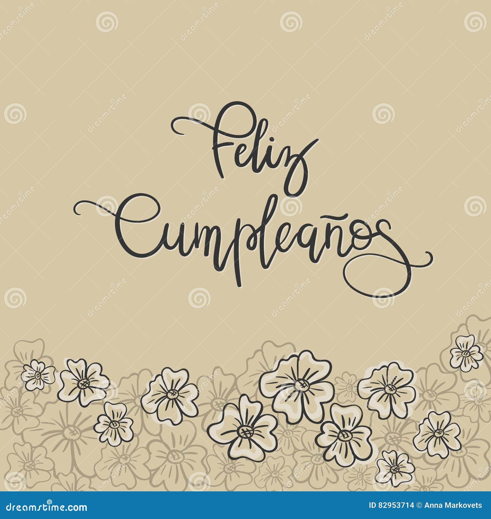 Feliz Cumpleanos Happy Birthday Spanish Text Greeting Card Modern Calligraphy Vector Illustration