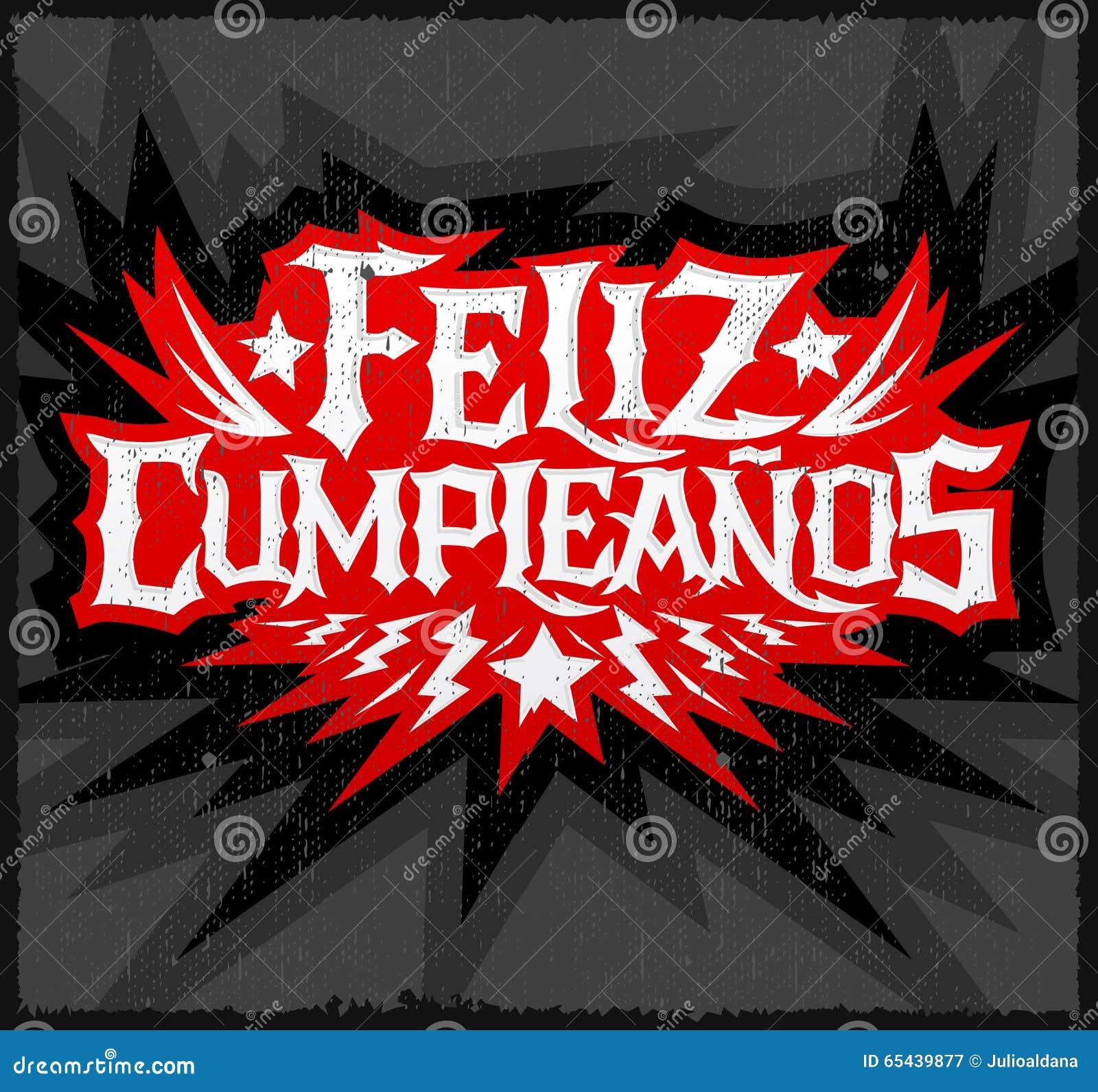 Feliz Cumpleanos - Happy Birthday Spanish Text Stock Vector - Image ...