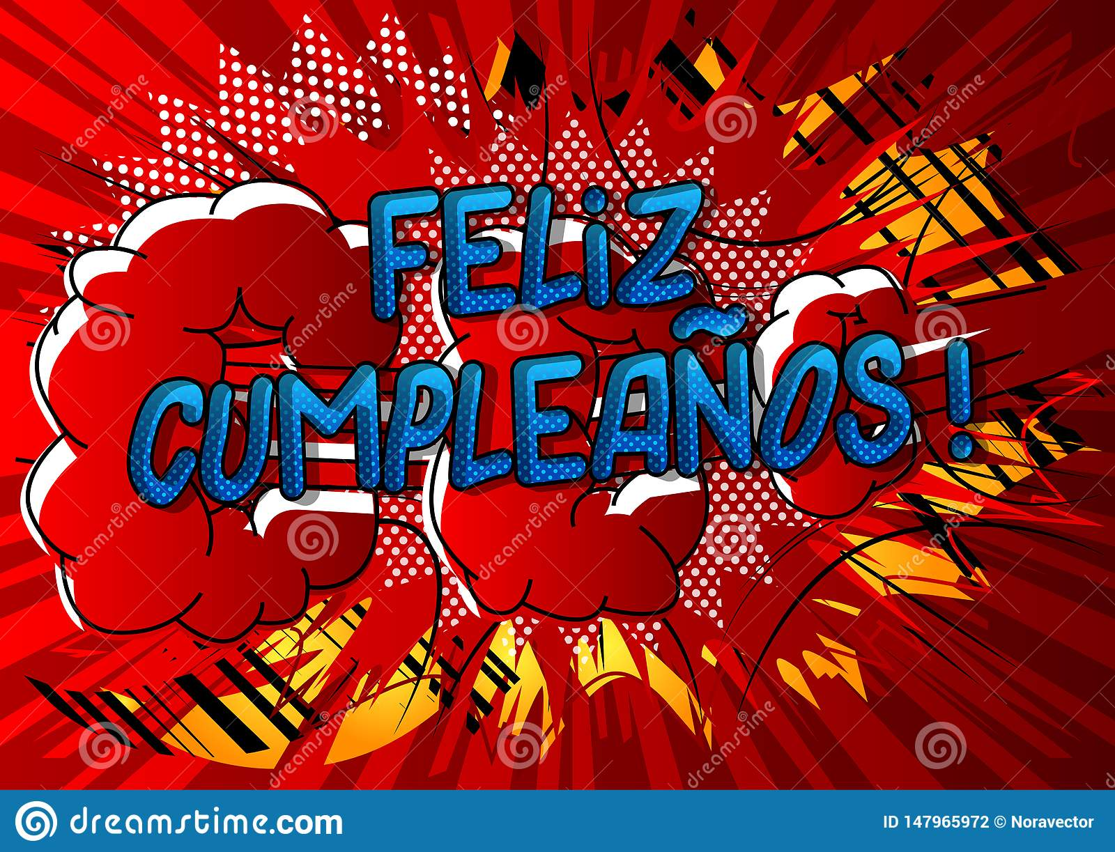 Happy Birthday In Spanish.Feliz Cumpleanos Happy Birthday In Spanish Stock Vector
