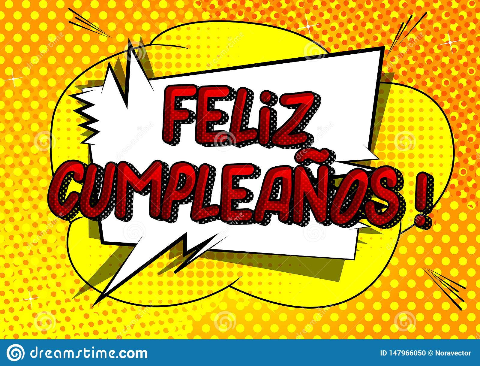 Feliz Cumpleanos Happy Birthday In Spanish Stock Vector