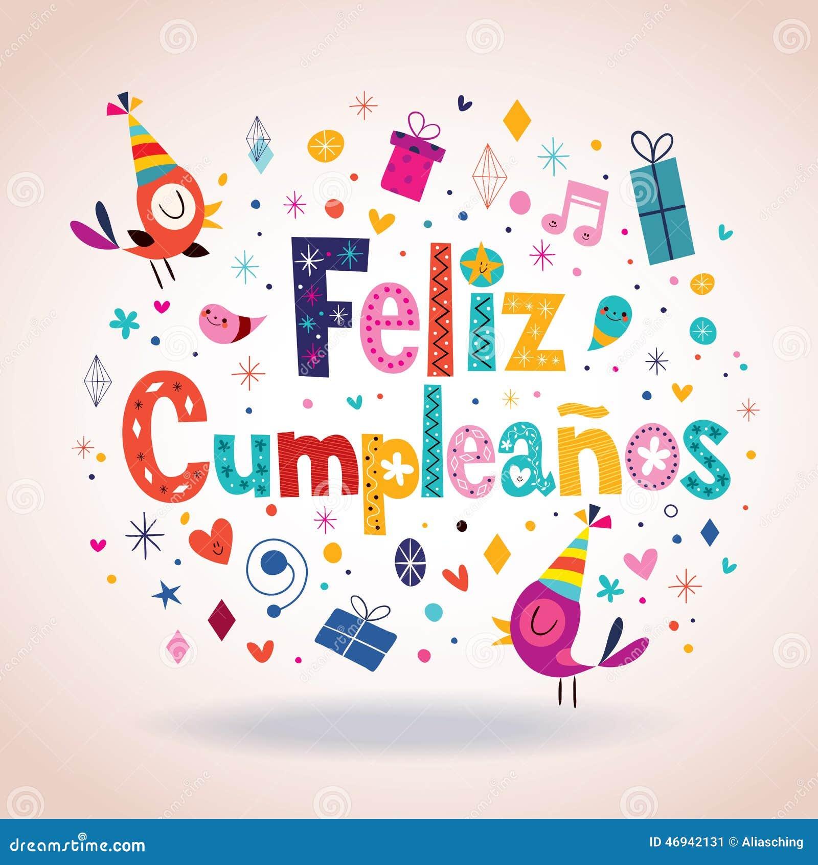 Feliz Cumpleanos Joyeux Anniversaire Dans La Carte Espagnole