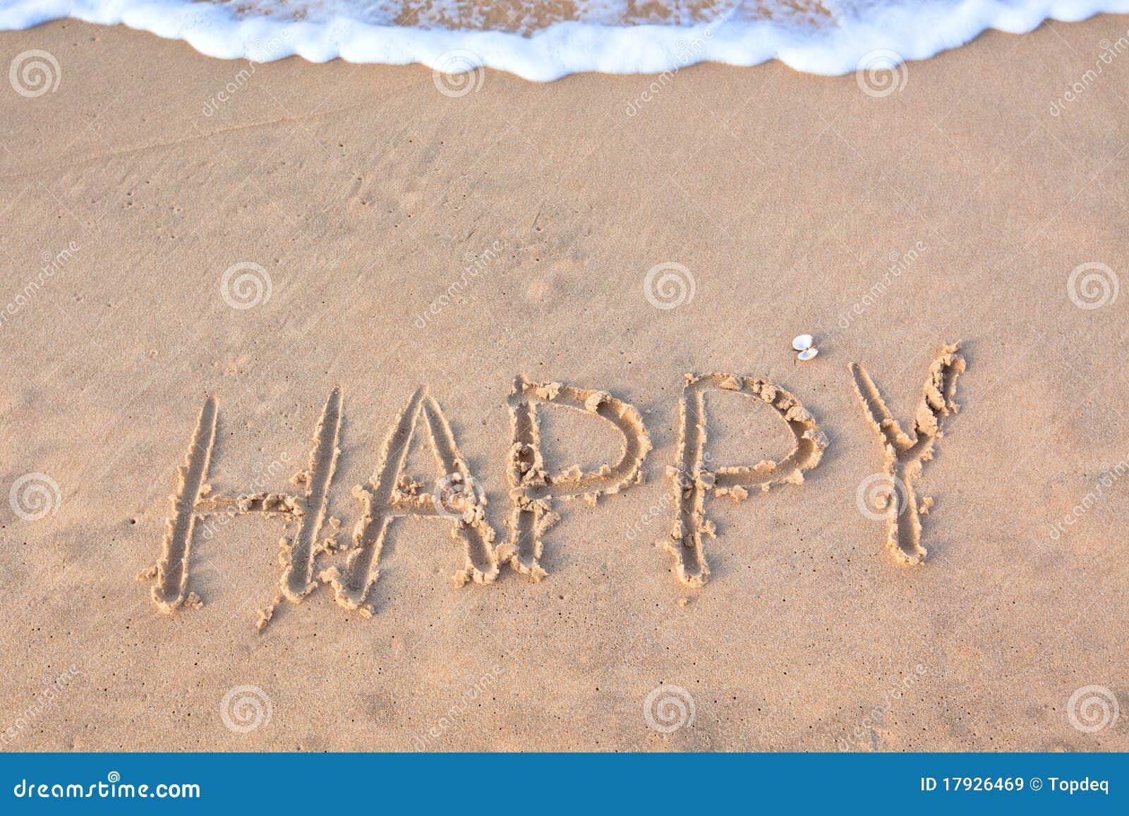 Eu Te Amo Escrito Na Areia Imagens De Stock Royalty Free: Feliz Da Palavra Escrito Na Areia Da Praia Imagens De