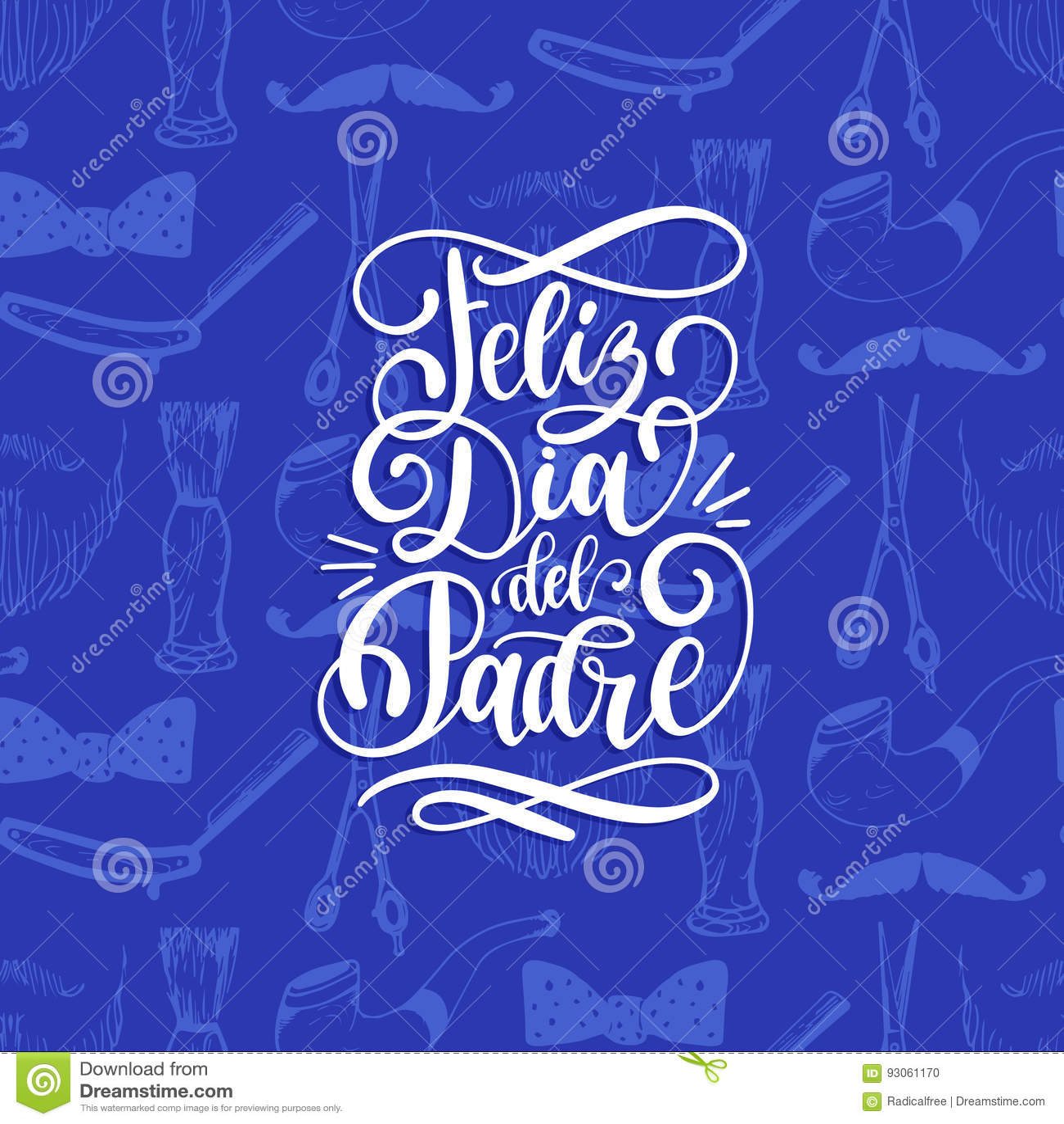 Feliz Dia台尔Padre,愉快的父亲节书法题字的西班牙翻译贺卡,海报的等