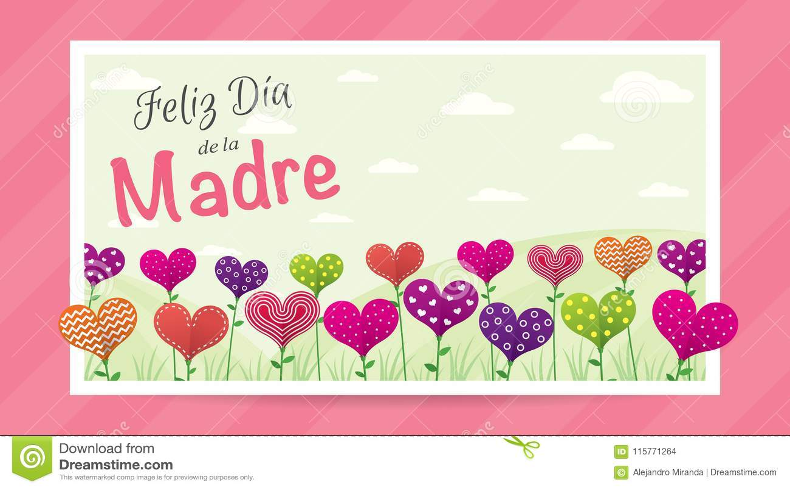 Feliz Dia de Λα Madre - ευτυχής ημέρα μητέρων ` s στην ισπανική γλώσσα - ευχετήρια κάρτα Τομέας των λουλουδιών με μορφή μιας καρδ