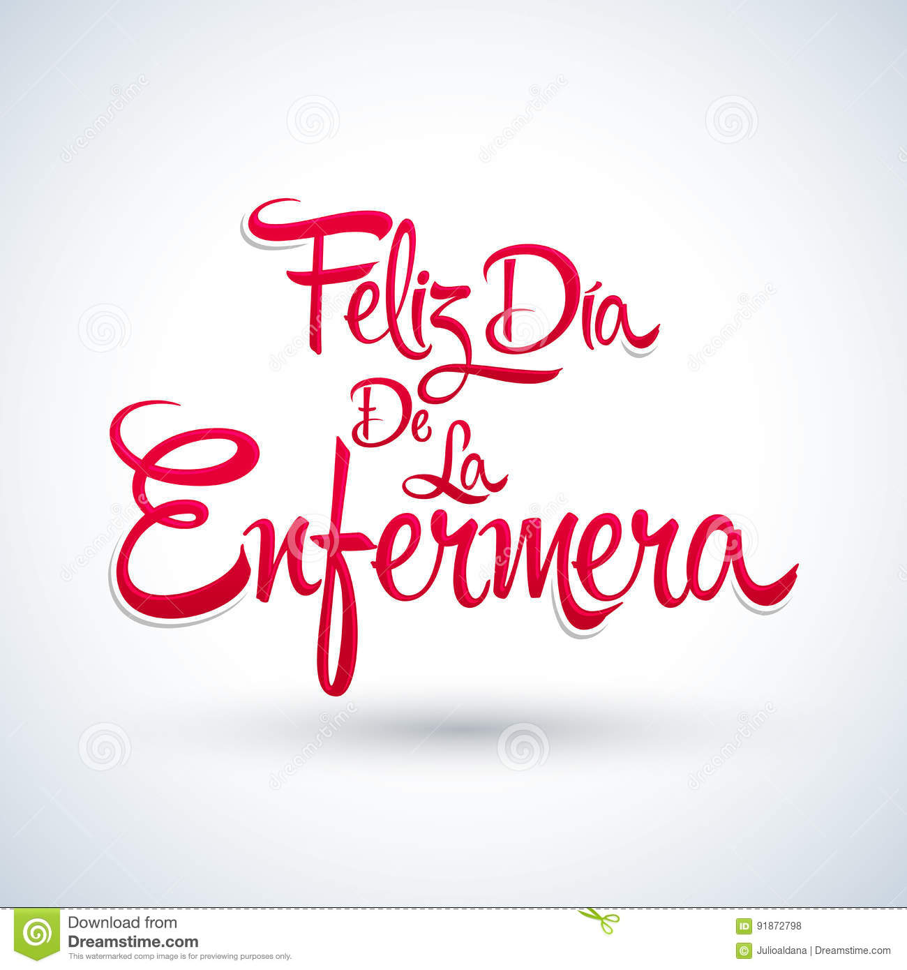 Feliz dia de la Enfermera, Happy Nurses day spanish text