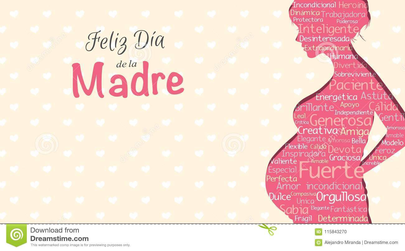 Feliz Dia de la Madre - día feliz del ` s de la madre en lengua española - tarjeta de felicitación Silueta rosada de la mujer emb