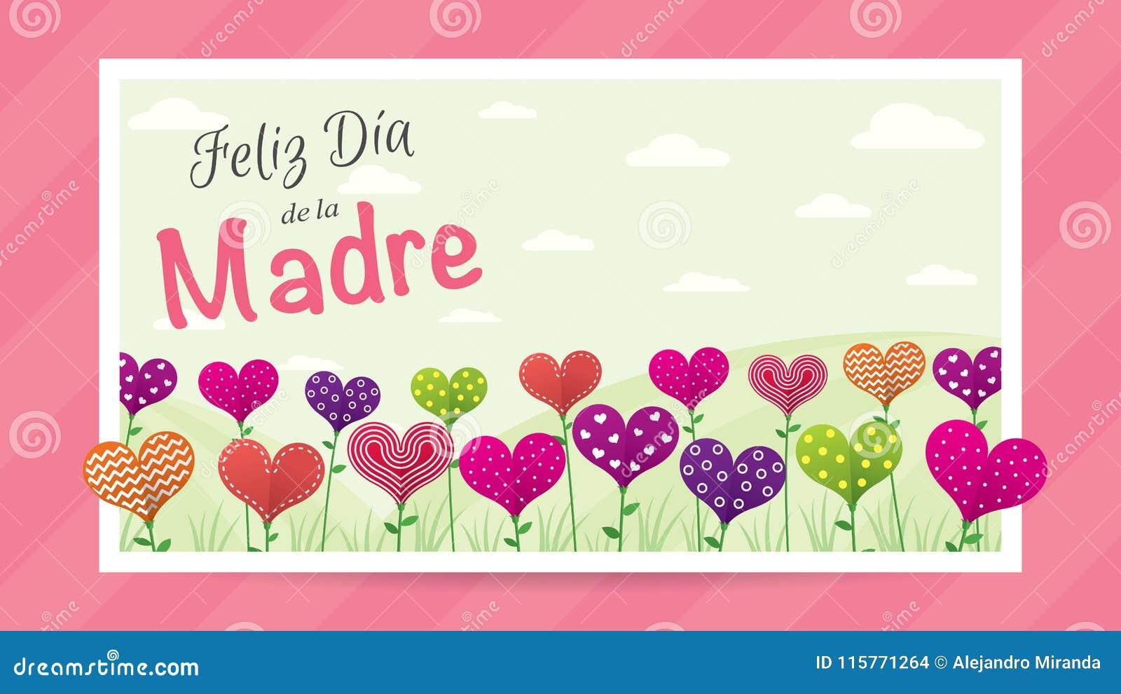 Feliz Dia de la Madre - lycklig dag för moder` s i spanskt språk - hälsningkort Fält av blommor i formen av en hjärta