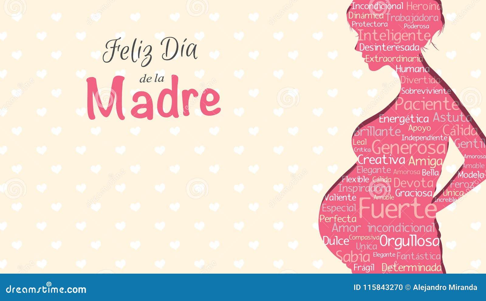 Feliz Dia De Los angeles Madre kartka z pozdrowieniami - Szczęśliwy Macierzysty ` s dzień w Hiszpańskim języku - Różowa sylwetka