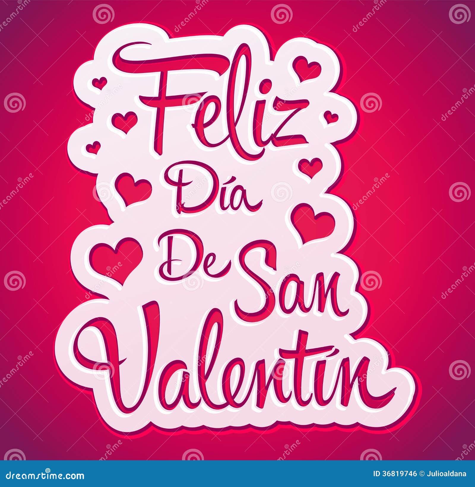 Feliz Dia de San Valentin - Happy Valentines day spanish text - peeling  sticker - vector eps 8 available