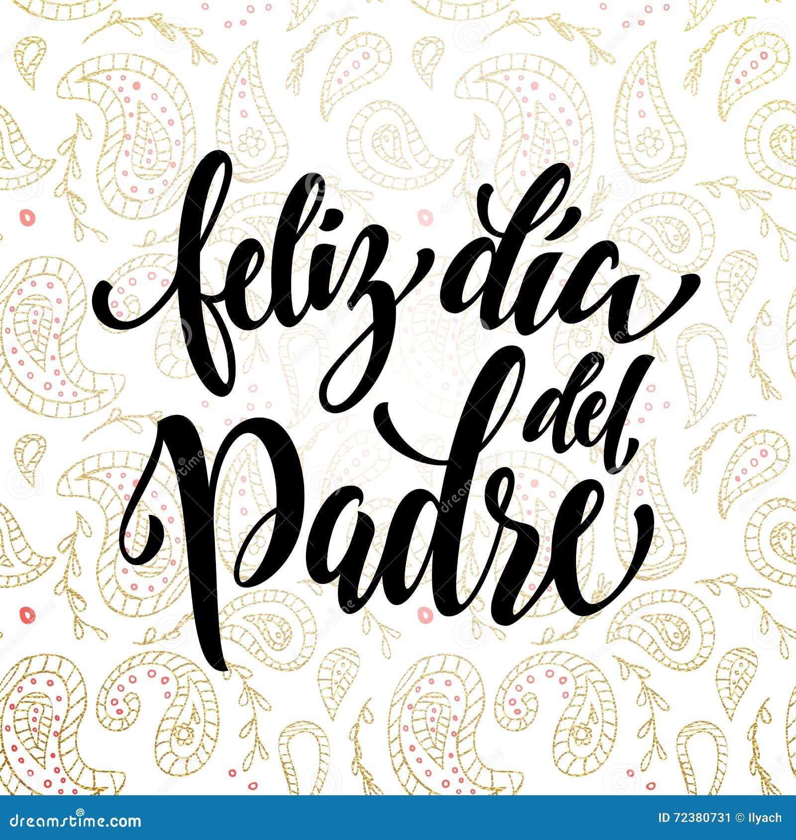 ... Art feliz dia del padre father day greeting card in spanish stock