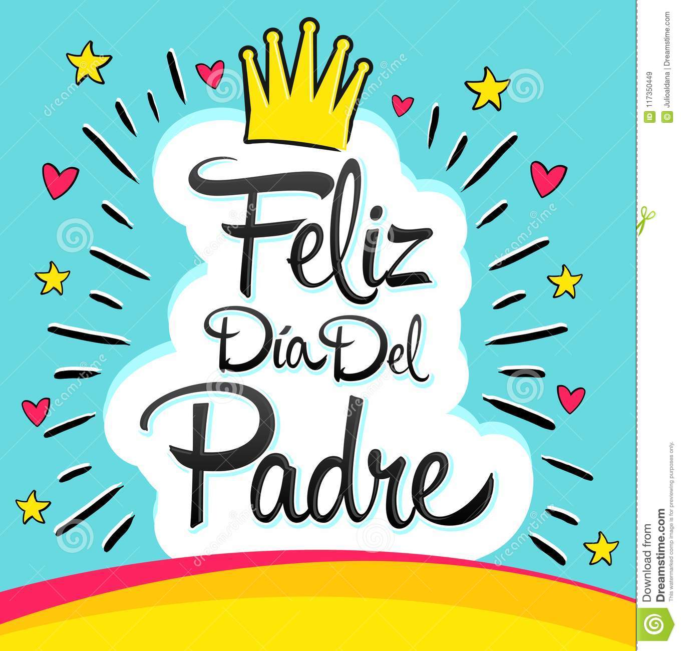 feliz dia del padre happy fathers day spanish text stock vector